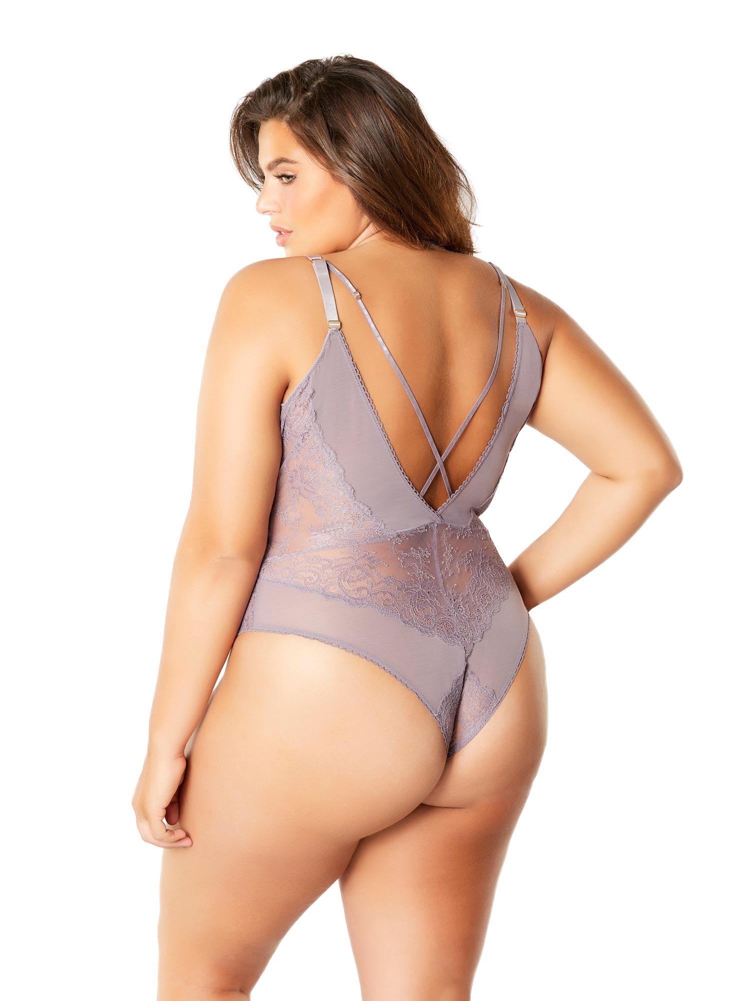 b781085059d Womens Sexy Plunge Strappy Plus Size Teddy Bodysuit Romper Lingerie ...