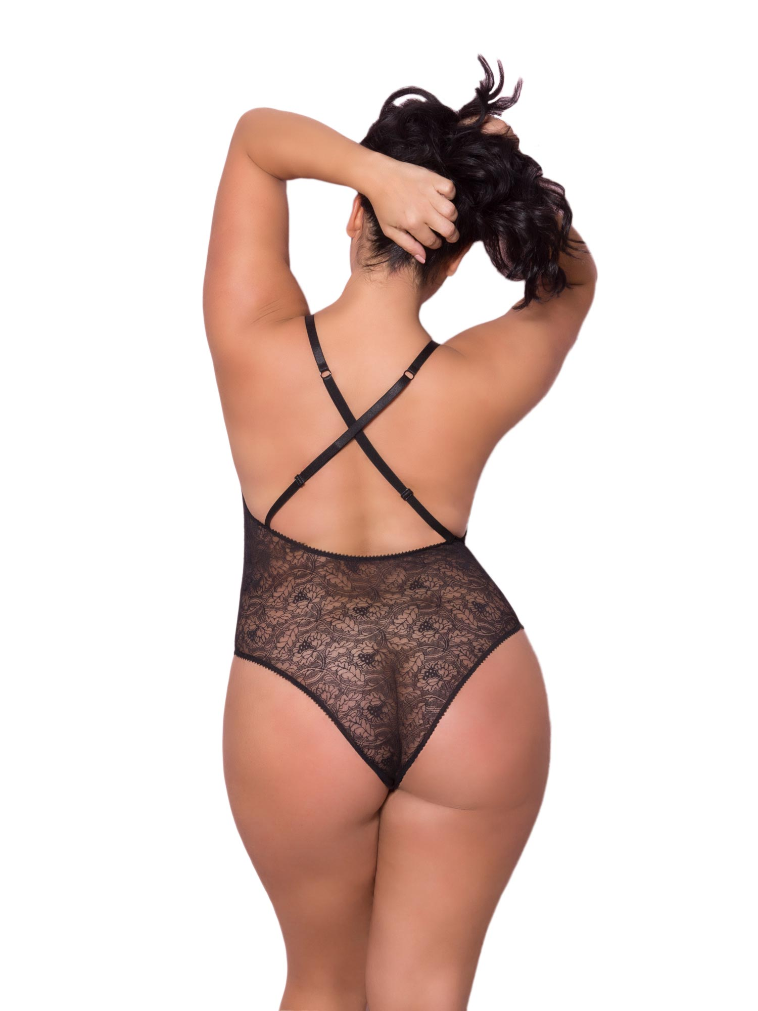 5a96bcda11 Womens Plus Size Lace Up Plunge Front Cheeky Teddy Bodysuit Lingerie ...