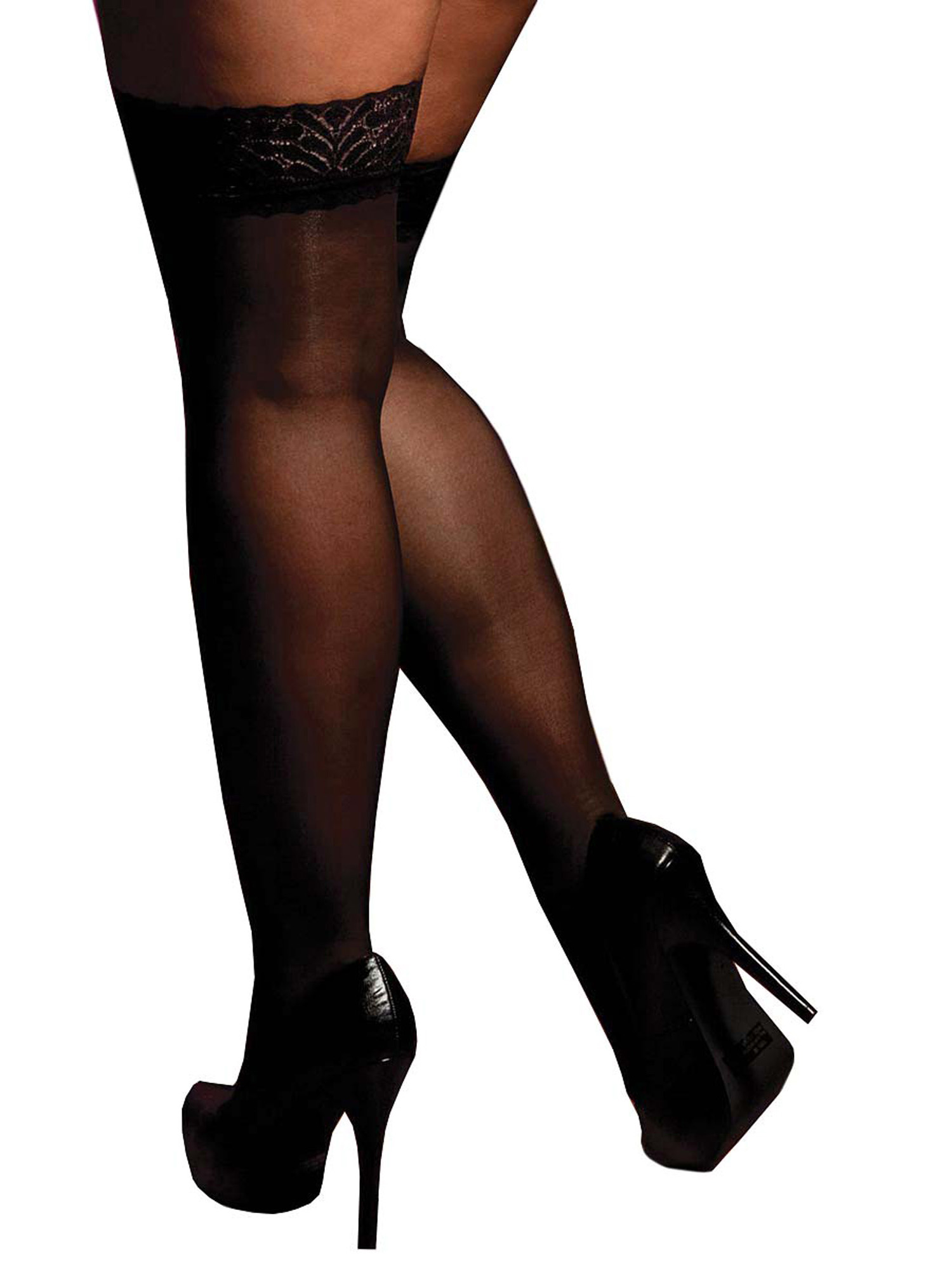 Plus-Size-Full-Figure-Sheer-Lace-Top-Thigh-High-Stockings thumbnail 5