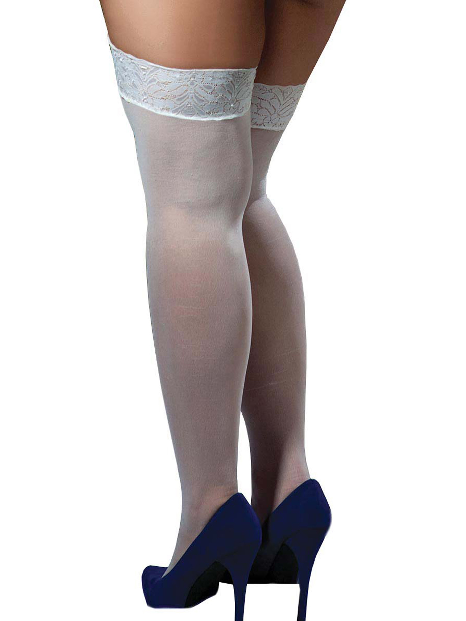 Plus-Size-Full-Figure-Sheer-Lace-Top-Thigh-High-Stockings thumbnail 11