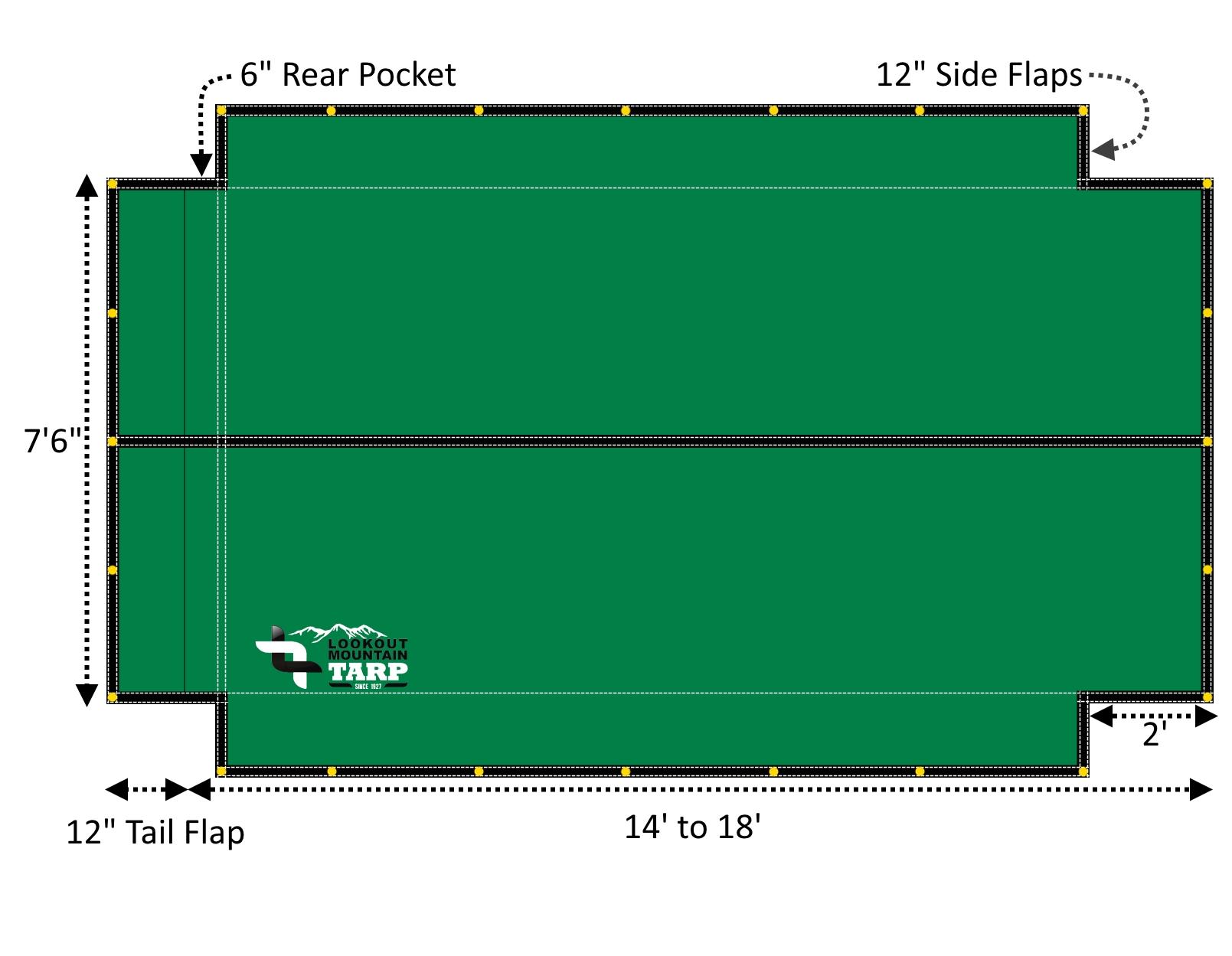 18oz Solid Vinyl Flip Tarp With Flaps For Dump Truck Beds