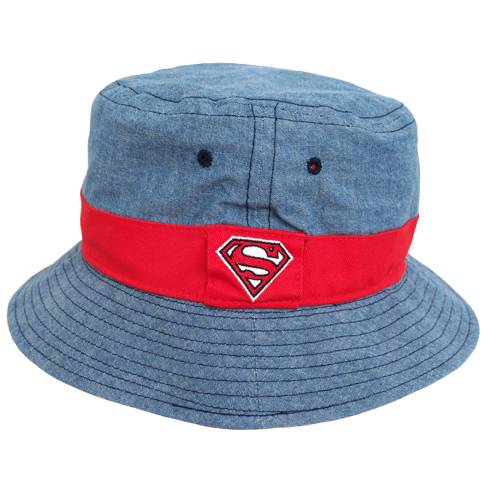 74e975e84b081 Image is loading Superman-DC-Comics-Logo-Chambray-Reversible -Youth-Fisherman-
