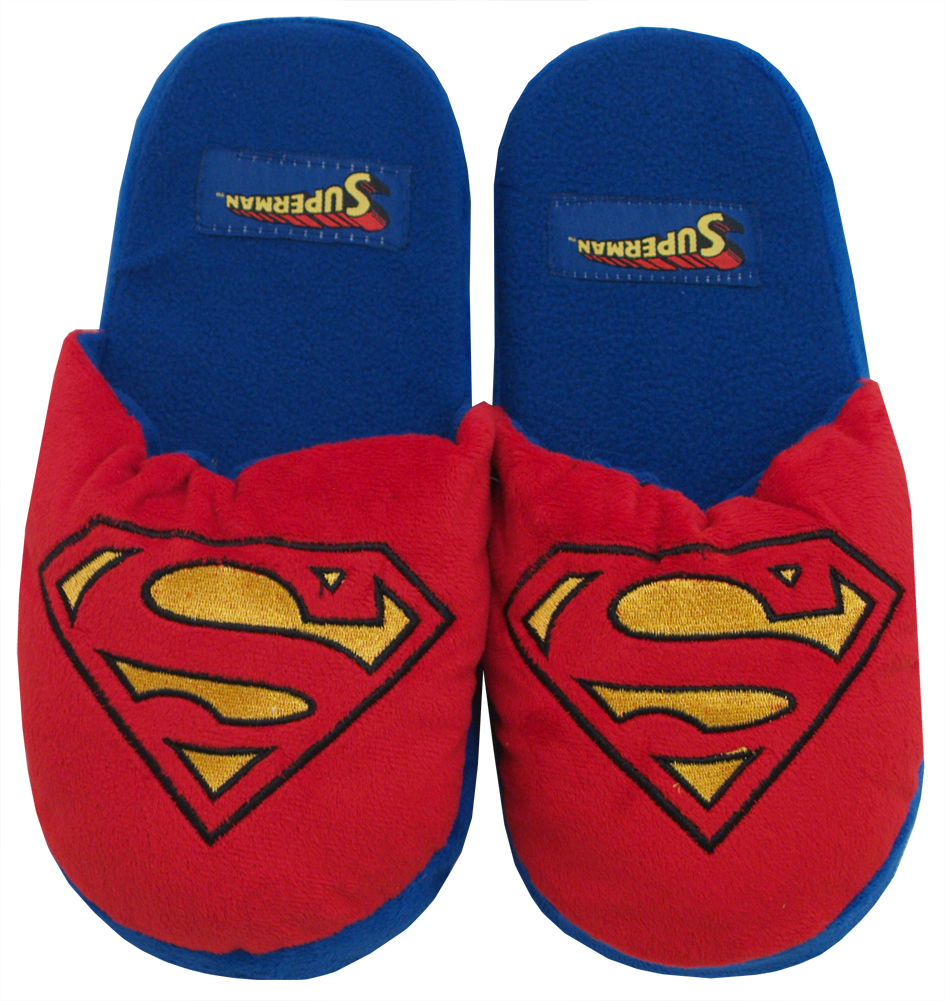 Superman Logo DC Comics Superhero Adult Mens Plush Slippers