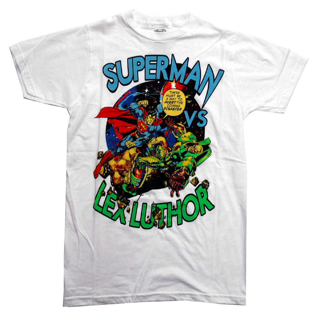 Superman-Vs-Lex-Luthor-DC-Comics-Cartoon-Superhero-Adult-T-Shirt-Tee