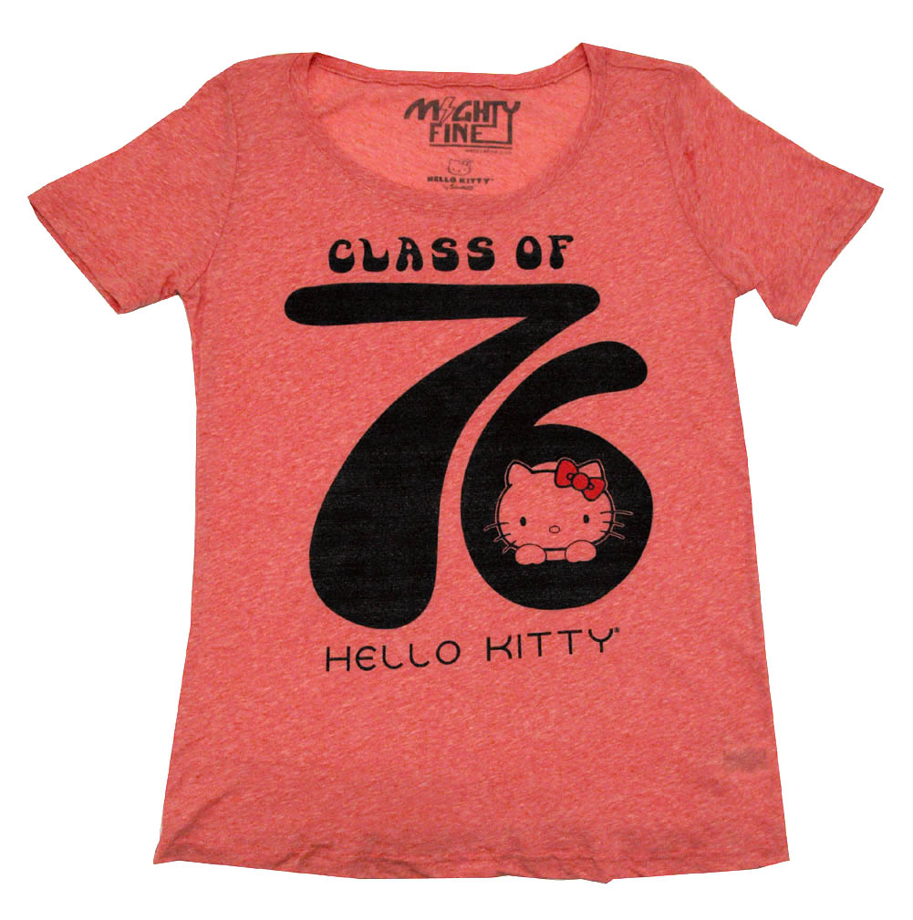 62431a151 Hello Kitty Class Of 76 Sanrio Mighty Fine Juniors Babydoll Crew T ...