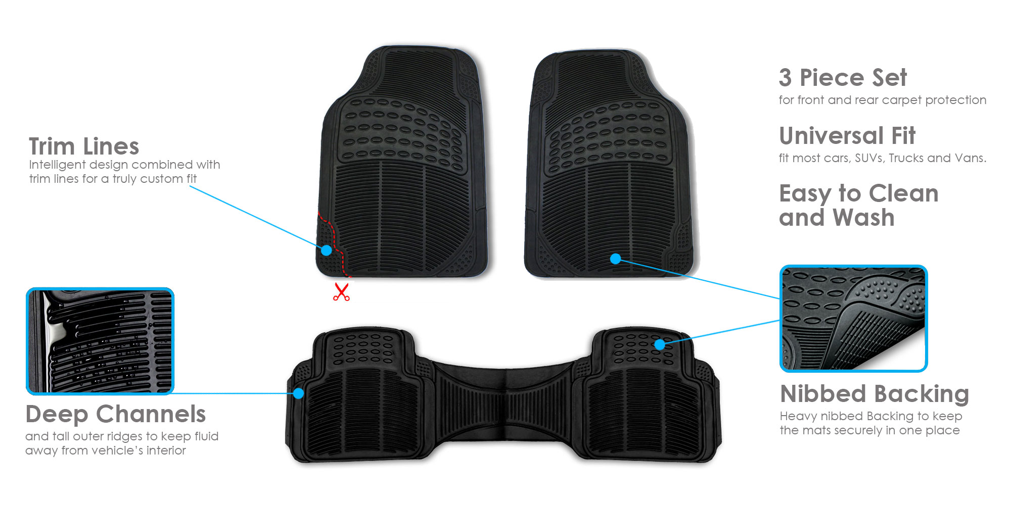 3pc-Floor-Mats-for-Auto-Car-SUV-Van-Heavy-Duty-3-Colors-w-Free-Gift thumbnail 9
