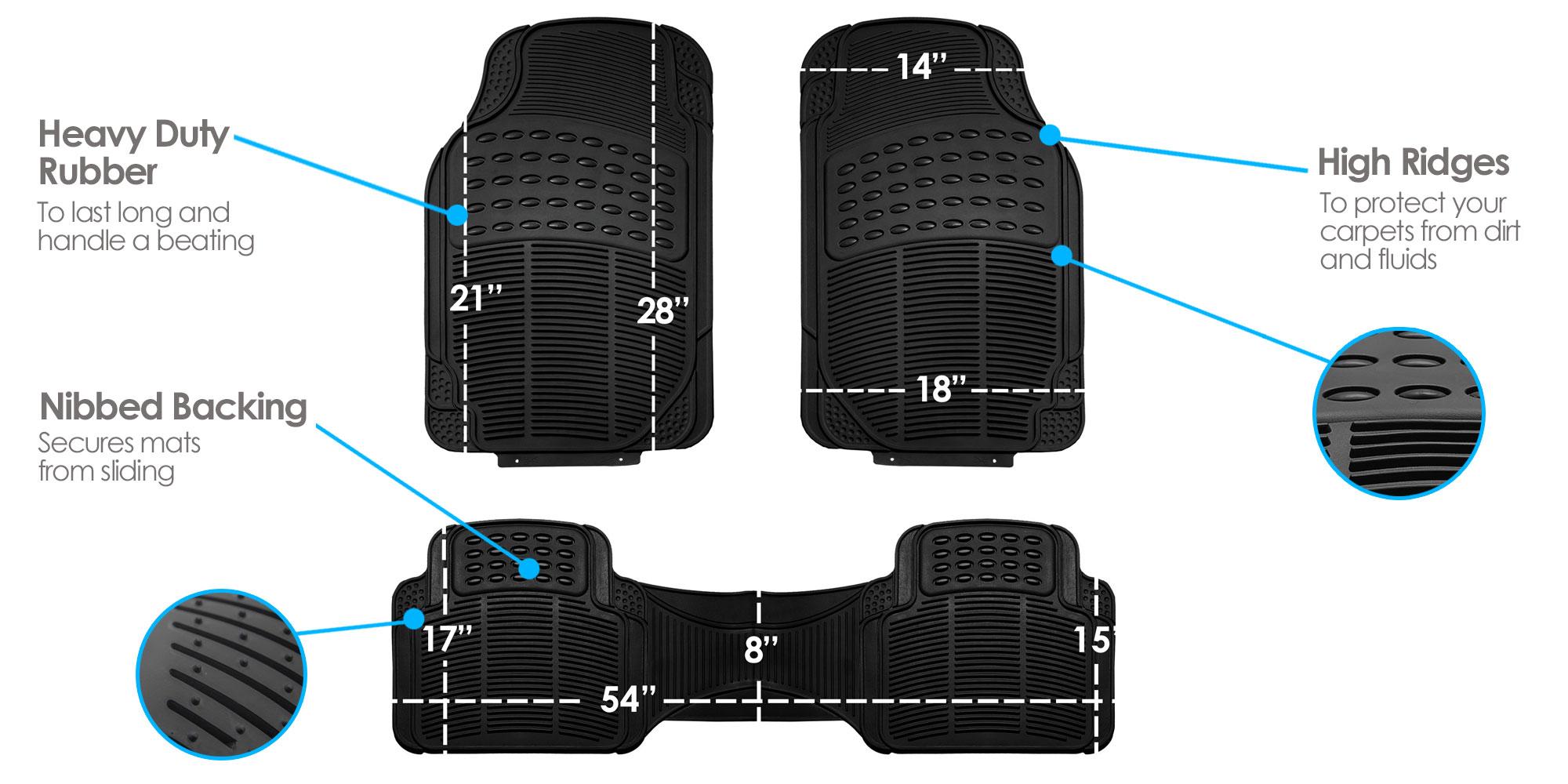3pc-Floor-Mats-for-Auto-Car-SUV-Van-Heavy-Duty-3-Colors-w-Free-Gift thumbnail 16