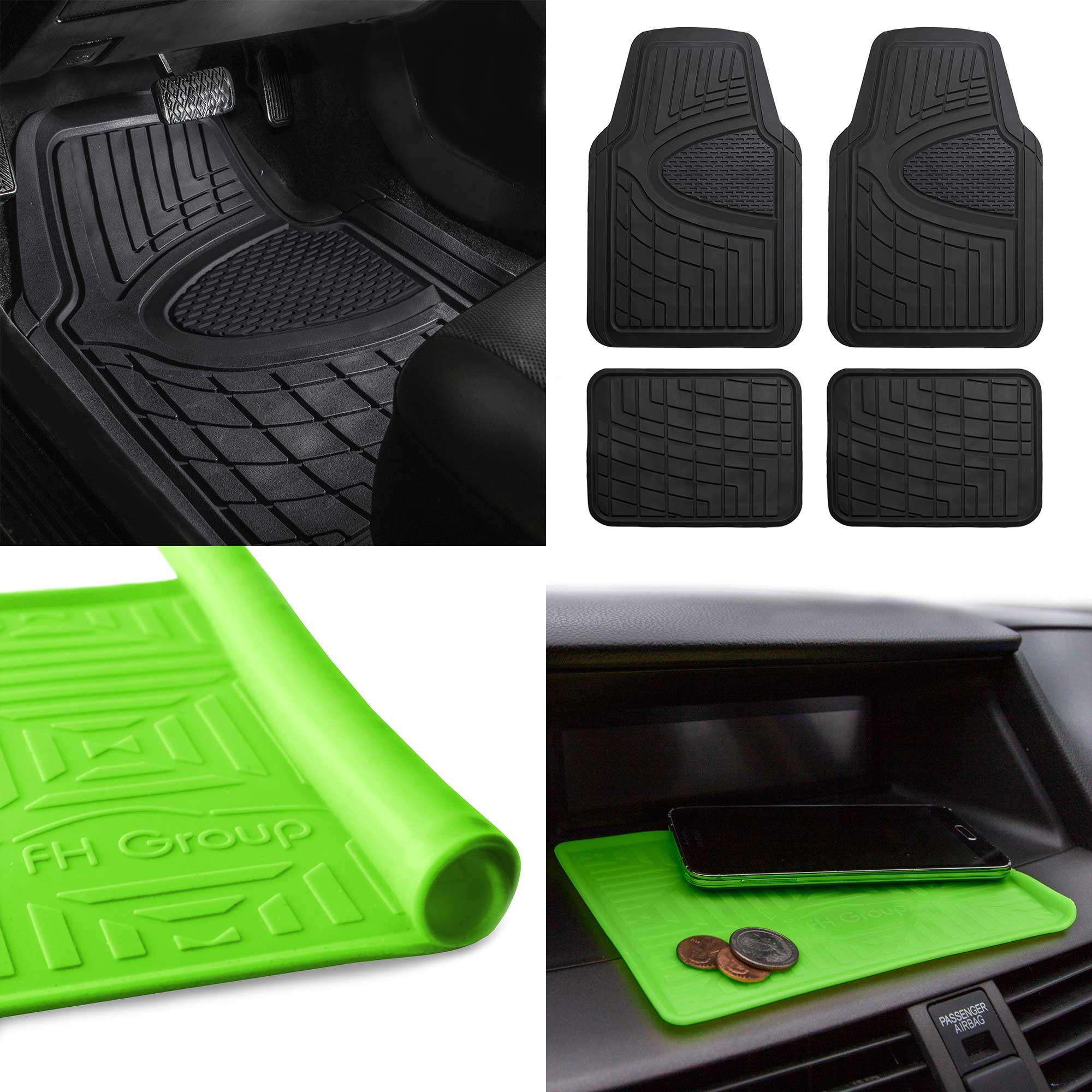 Car Floor Mats >> Details About All Weather Car Floor Mats For Auto Sedan Suv Custom Fit Black W Green Dash Mat