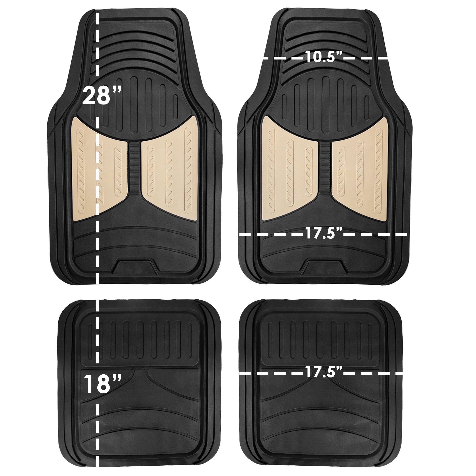 Car-Floor-Mats-for-All-Weather-Rubber-2-Tone-Design-4pc-Set-Heavy-Duty thumbnail 7