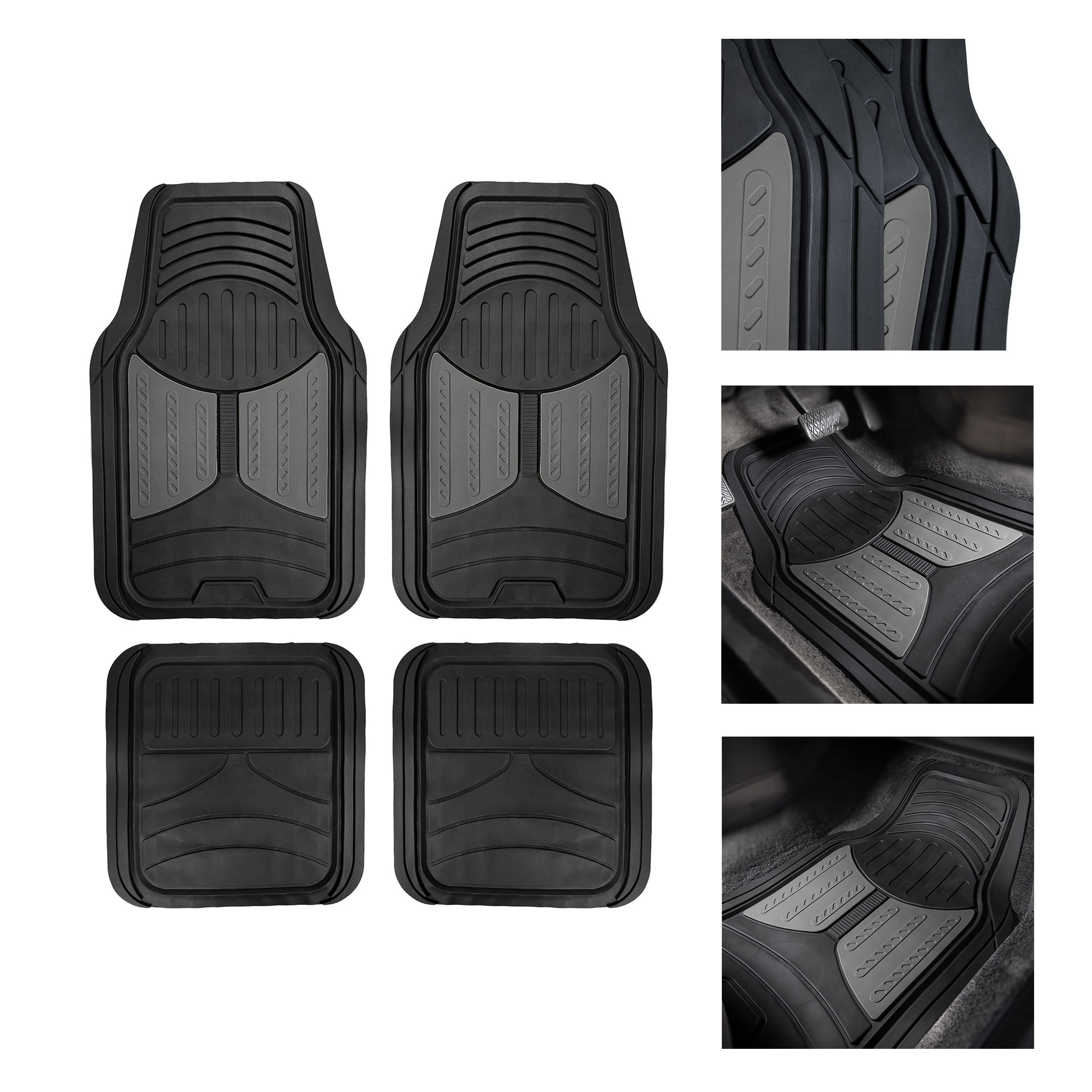 Gray Black Carpet Floor Mats for Car Sedan SUV Van Universal Fitment FREE GIFT