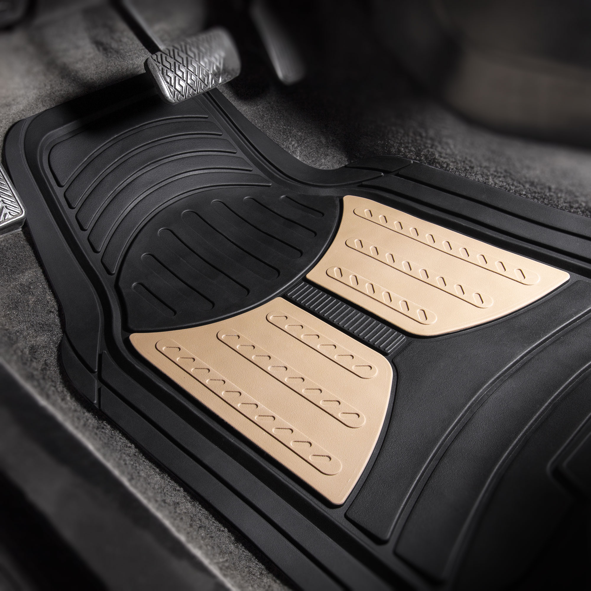 Car-Floor-Mats-for-All-Weather-Rubber-2-Tone-Design-4pc-Set-Heavy-Duty thumbnail 5