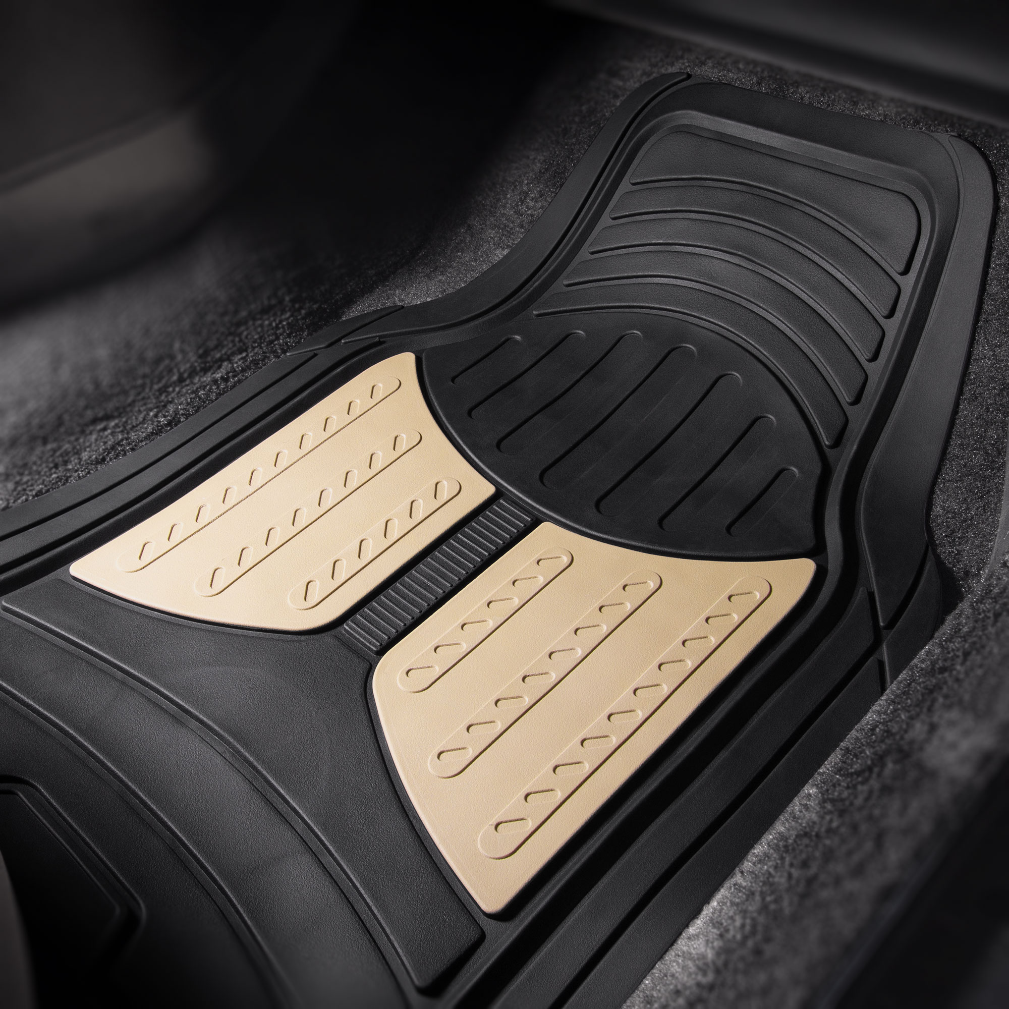Car-Floor-Mats-for-All-Weather-Rubber-2-Tone-Design-4pc-Set-Heavy-Duty thumbnail 6