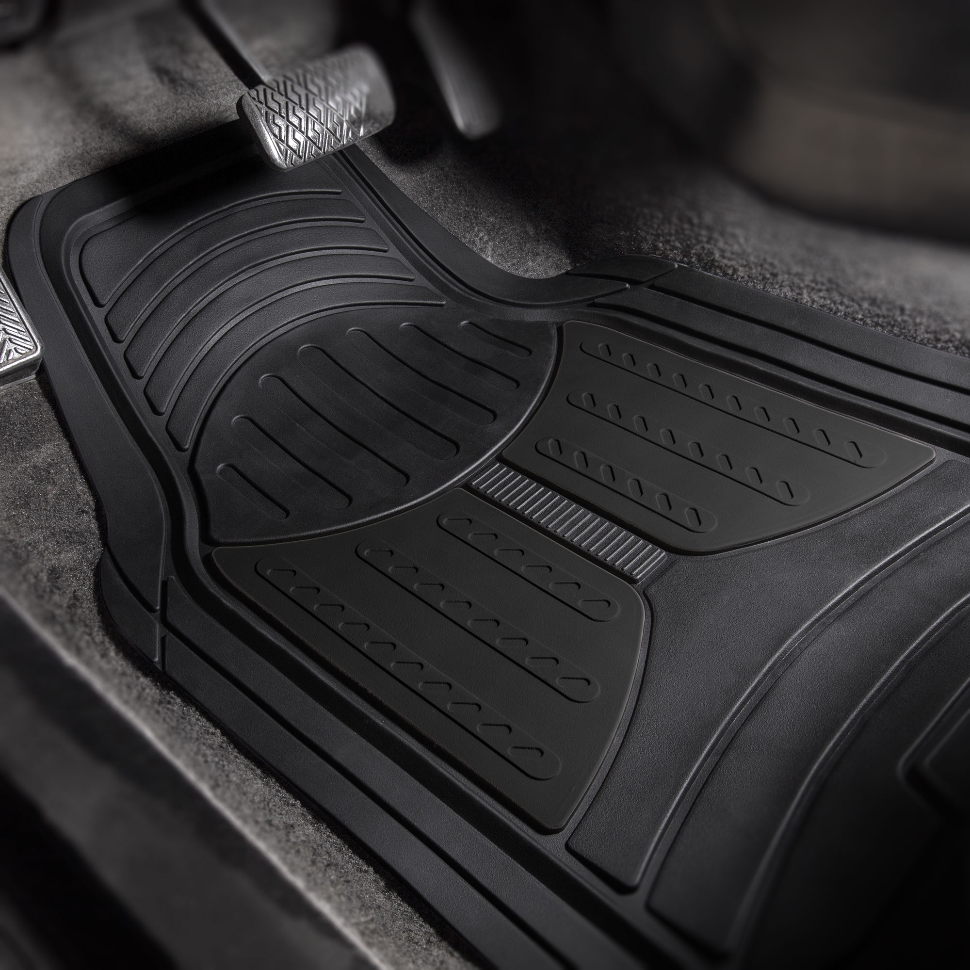thumbnail 5 - Car Floor Mats for All Weather Rubber 2-Tone Design Heavy Duty - 4 Pc Set