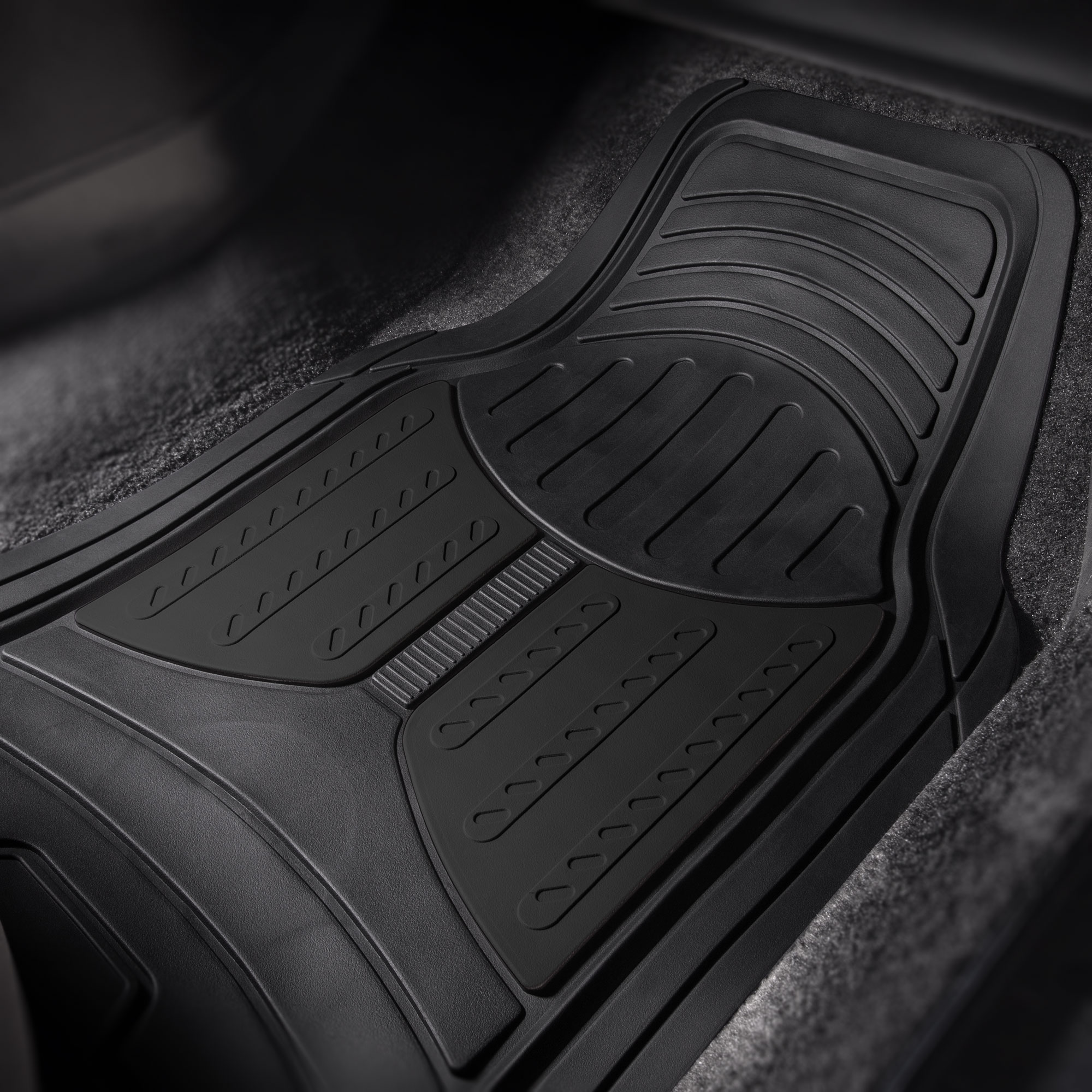 thumbnail 6 - Car Floor Mats for All Weather Rubber 2-Tone Design Heavy Duty - 4 Pc Set