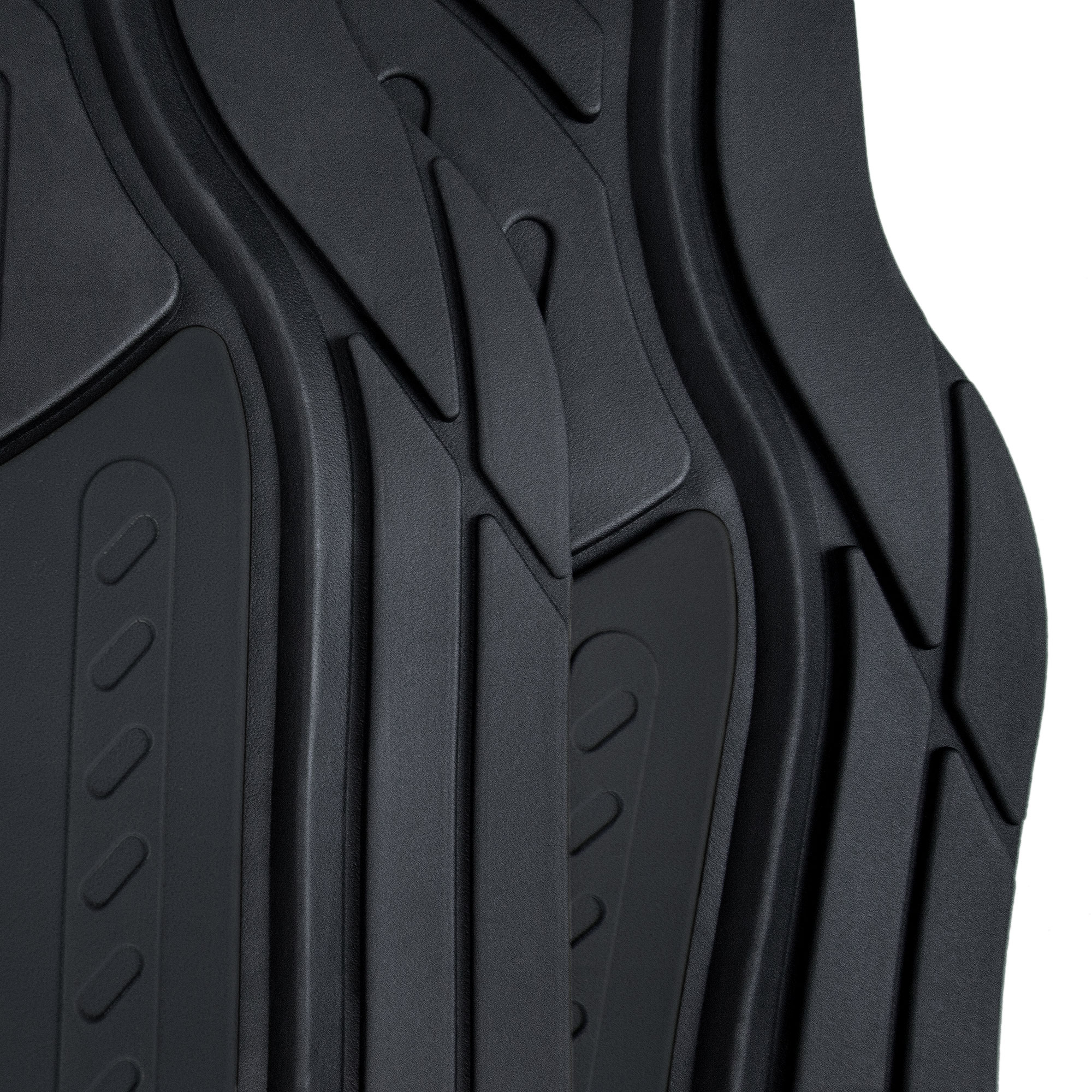 thumbnail 4 - Car Floor Mats for All Weather Rubber 2-Tone Design Heavy Duty - 4 Pc Set