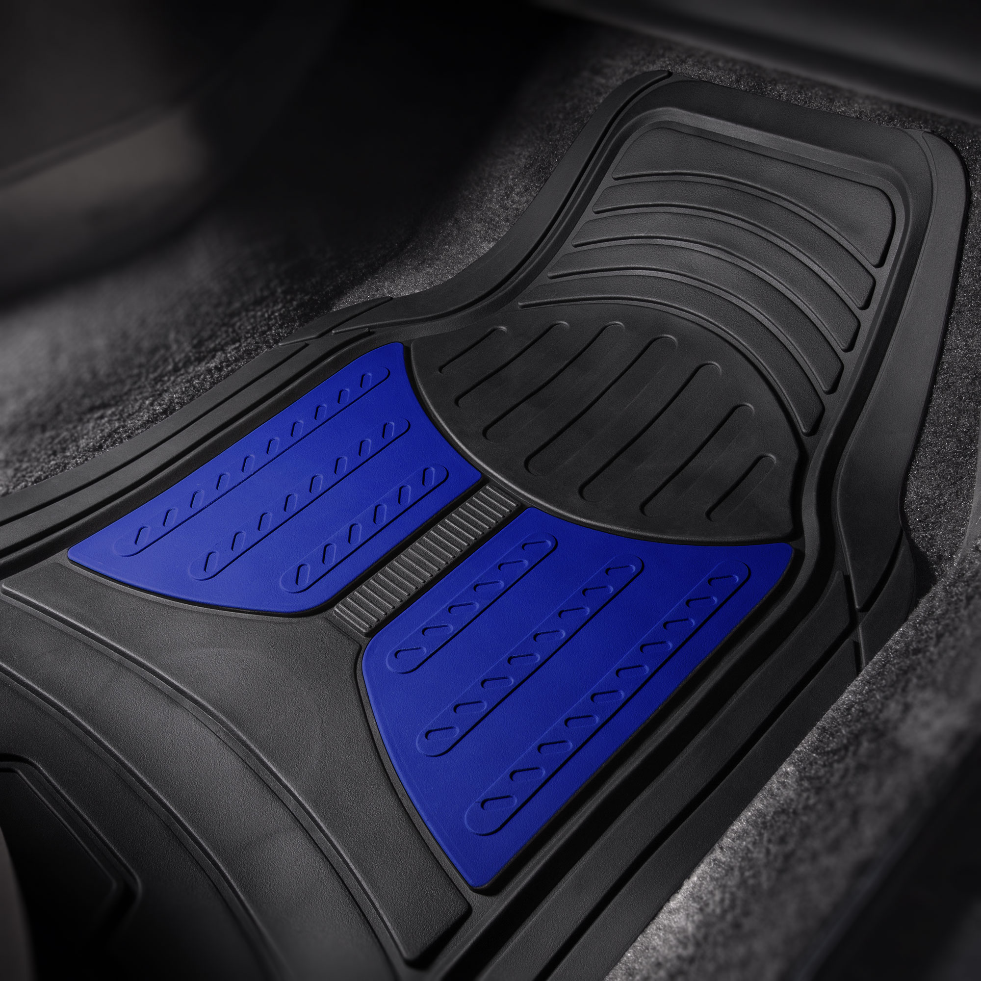 thumbnail 10 - Car Floor Mats for All Weather Rubber 2-Tone Design Heavy Duty - 4 Pc Set