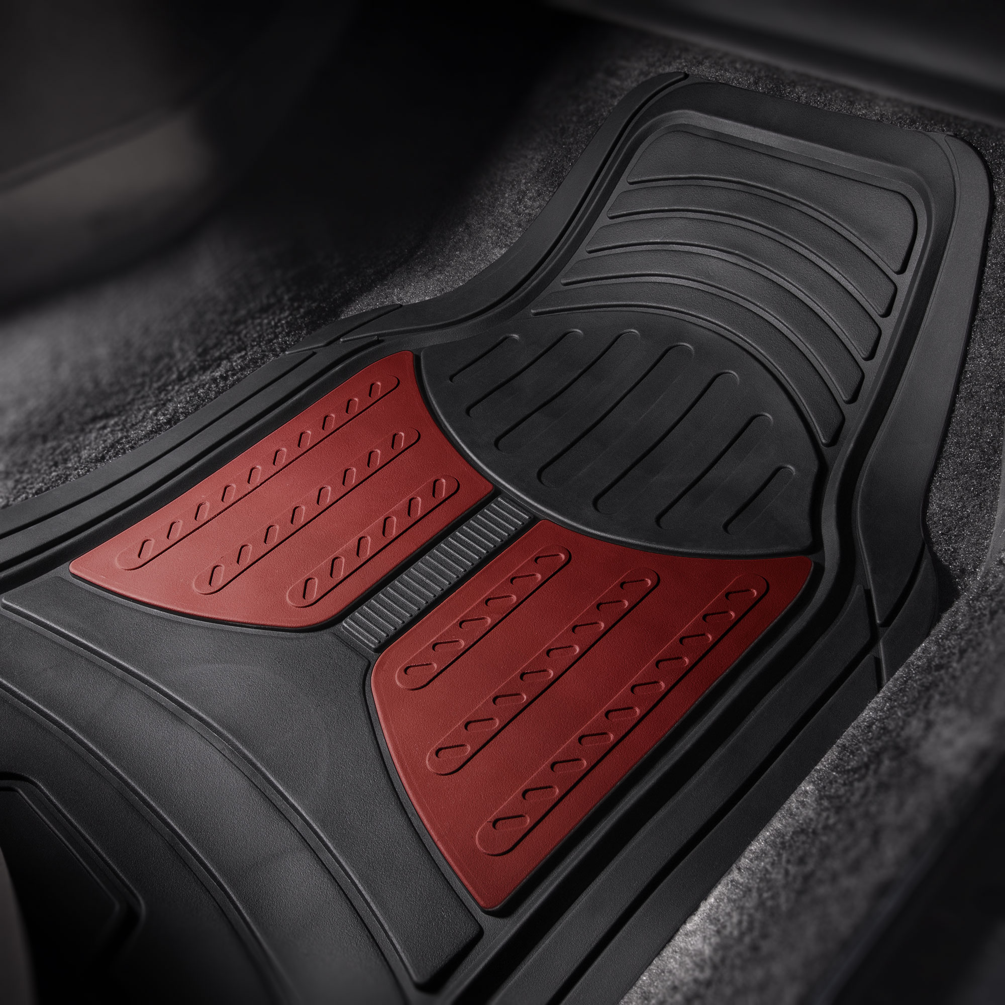 thumbnail 14 - Car Floor Mats for All Weather Rubber 2-Tone Design Heavy Duty - 4 Pc Set