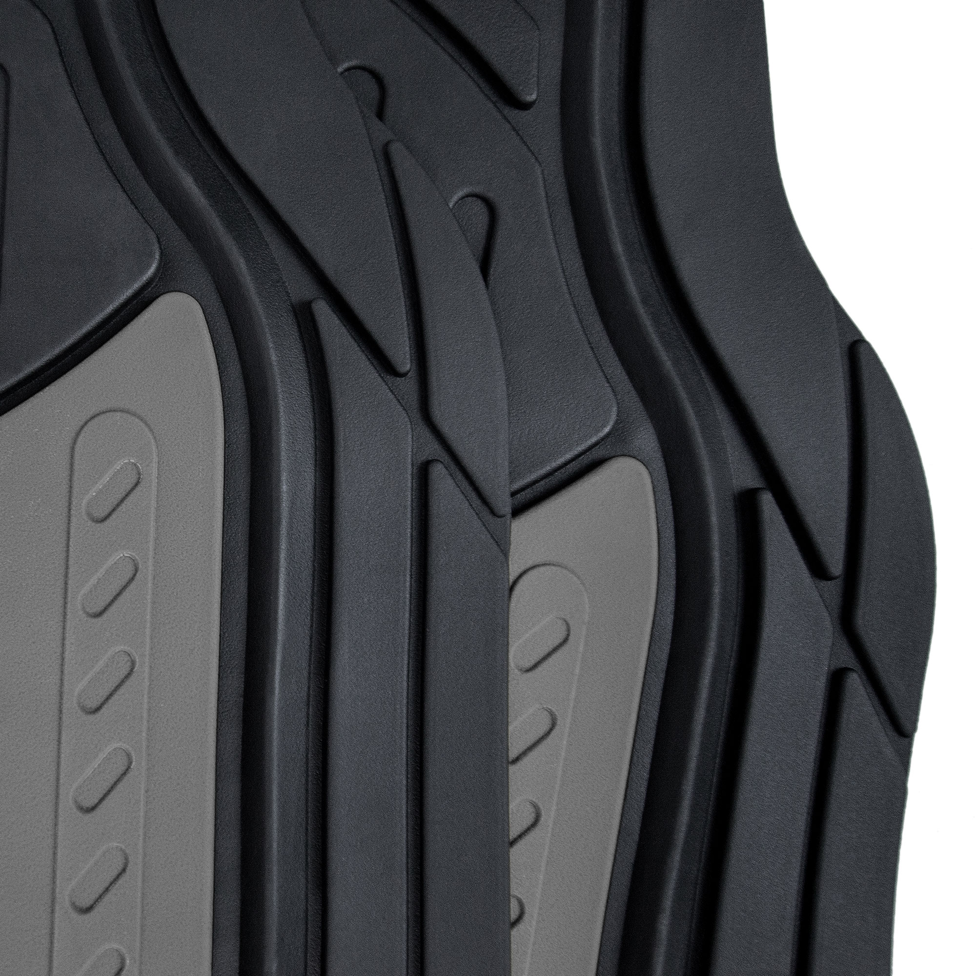 thumbnail 16 - Car Floor Mats for All Weather Rubber 2-Tone Design Heavy Duty - 4 Pc Set