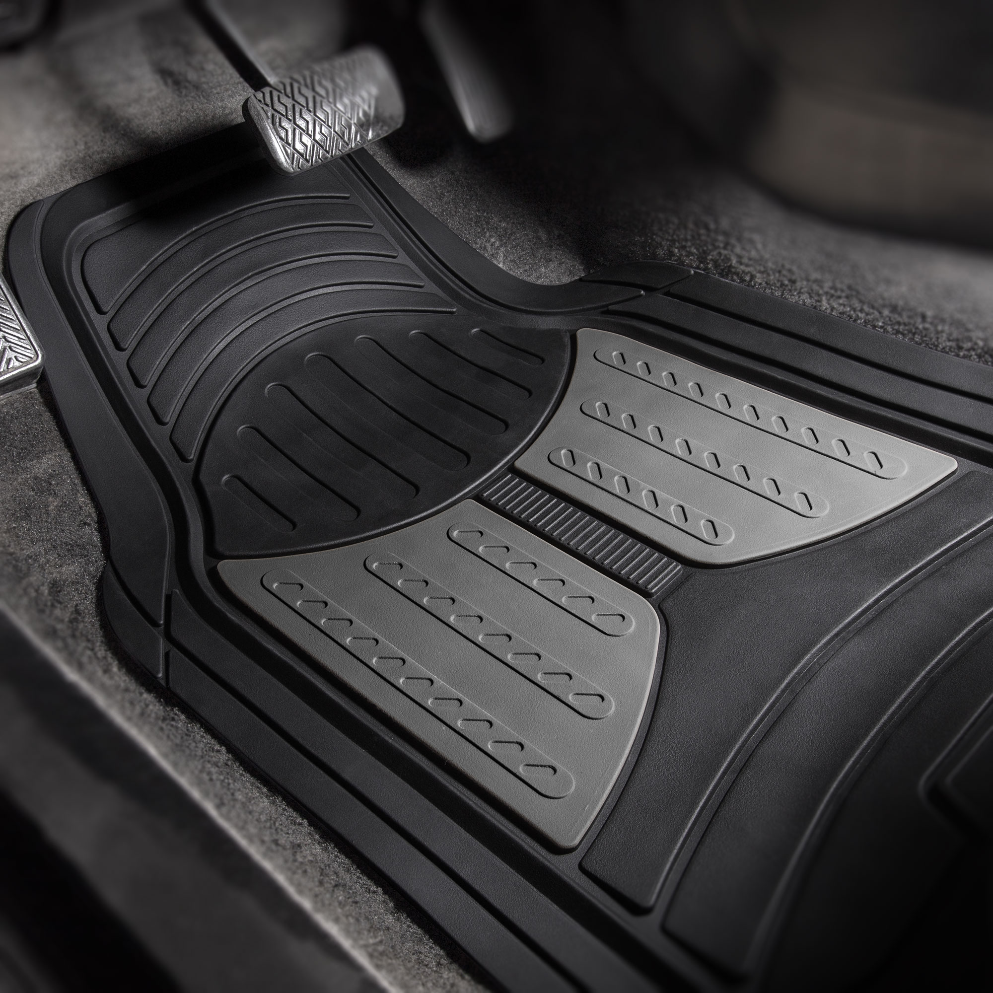 thumbnail 17 - Car Floor Mats for All Weather Rubber 2-Tone Design Heavy Duty - 4 Pc Set