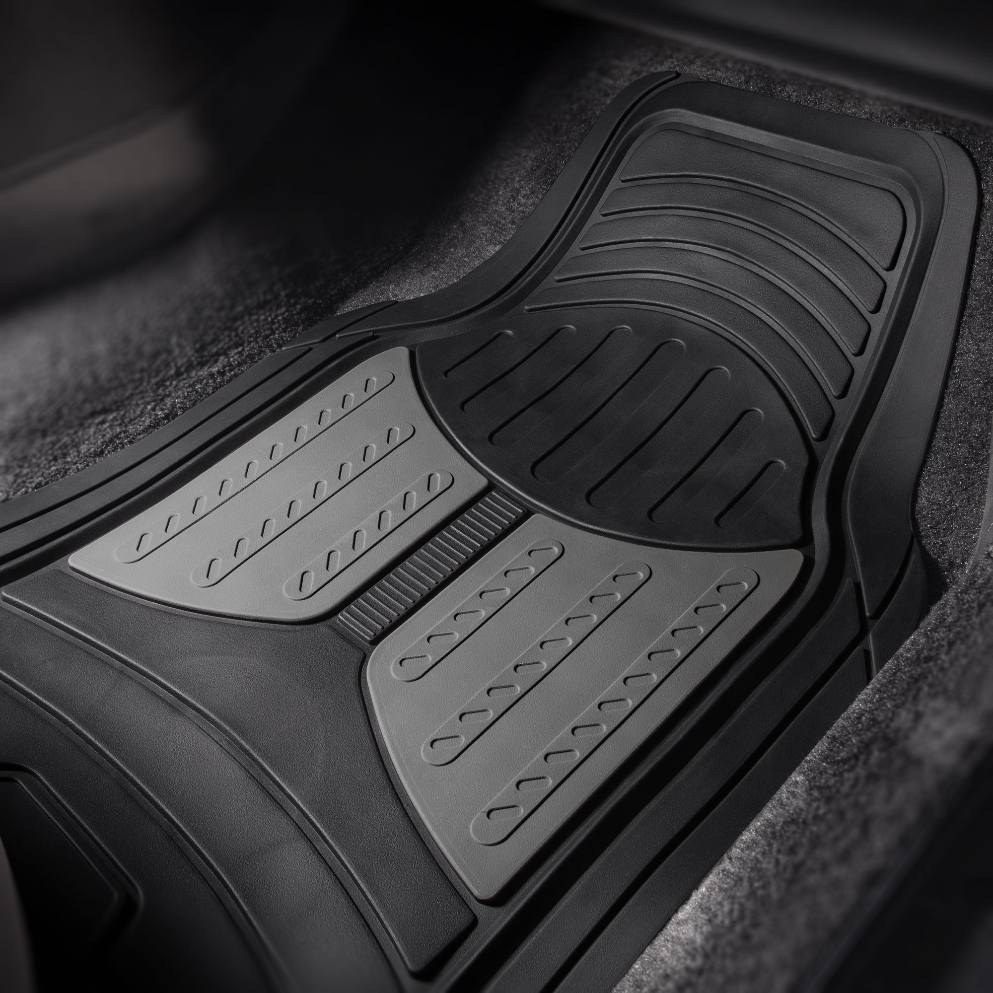 thumbnail 18 - Car Floor Mats for All Weather Rubber 2-Tone Design Heavy Duty - 4 Pc Set