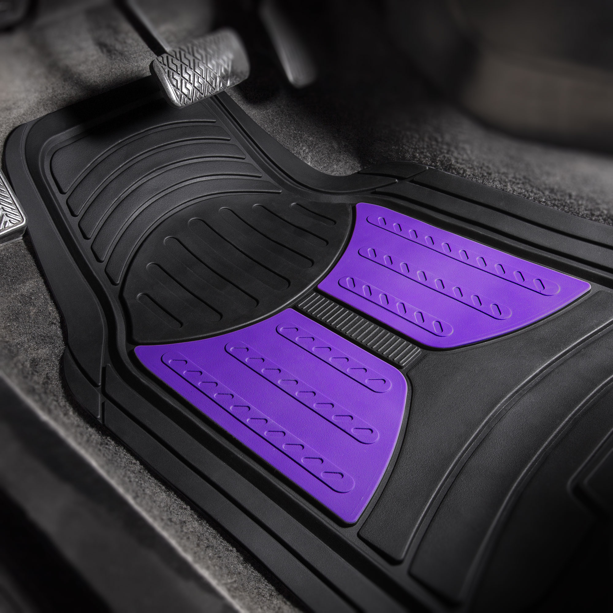 thumbnail 25 - Car Floor Mats for All Weather Rubber 2-Tone Design Heavy Duty - 4 Pc Set