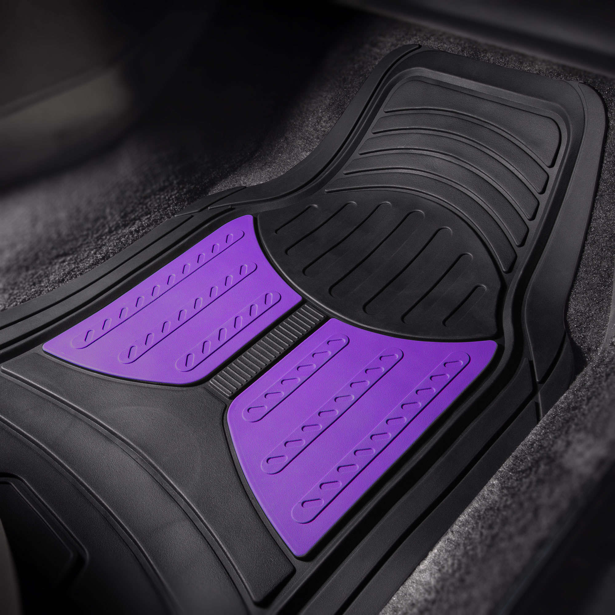 thumbnail 26 - Car Floor Mats for All Weather Rubber 2-Tone Design Heavy Duty - 4 Pc Set