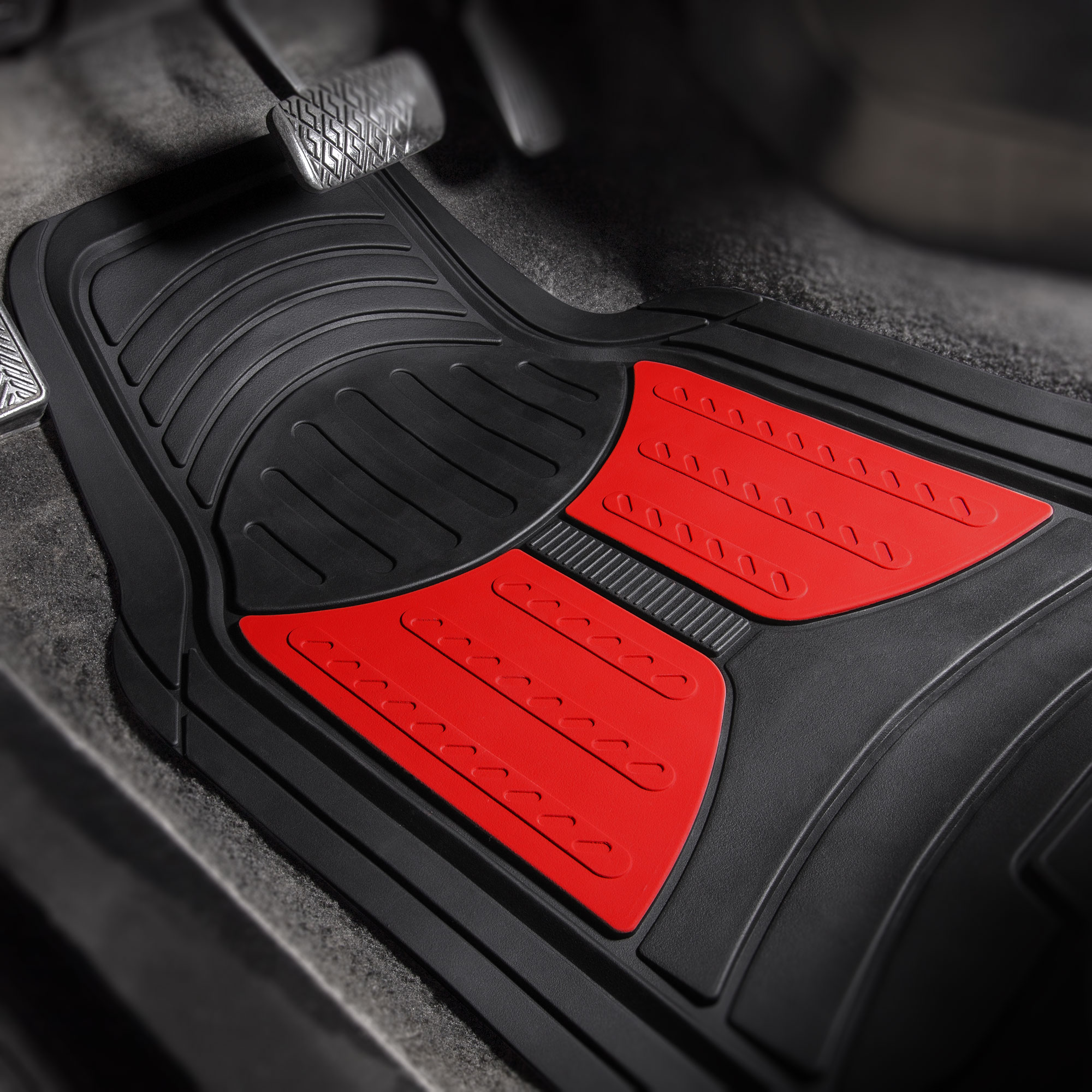 thumbnail 29 - Car Floor Mats for All Weather Rubber 2-Tone Design Heavy Duty - 4 Pc Set