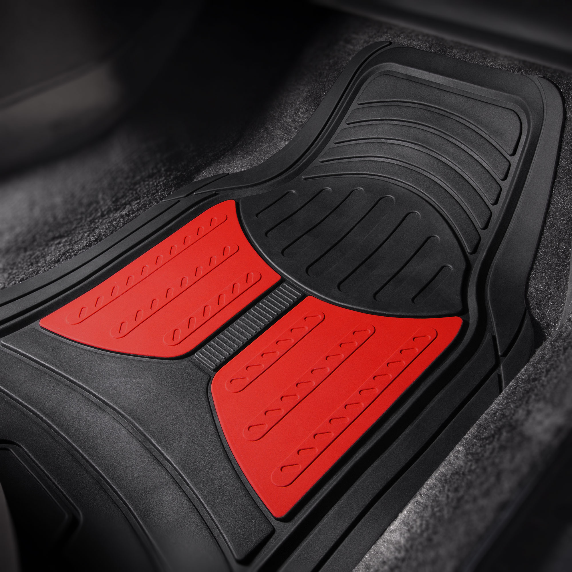 thumbnail 30 - Car Floor Mats for All Weather Rubber 2-Tone Design Heavy Duty - 4 Pc Set