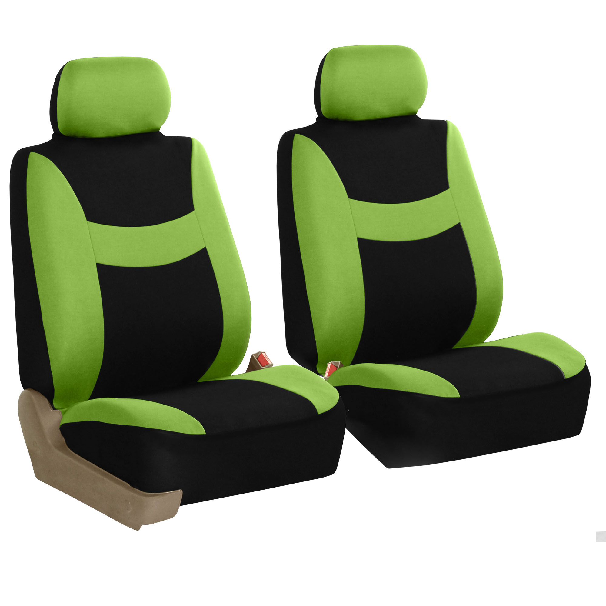 Front 2 Bucket Universal Car Seat Covers Green For Auto