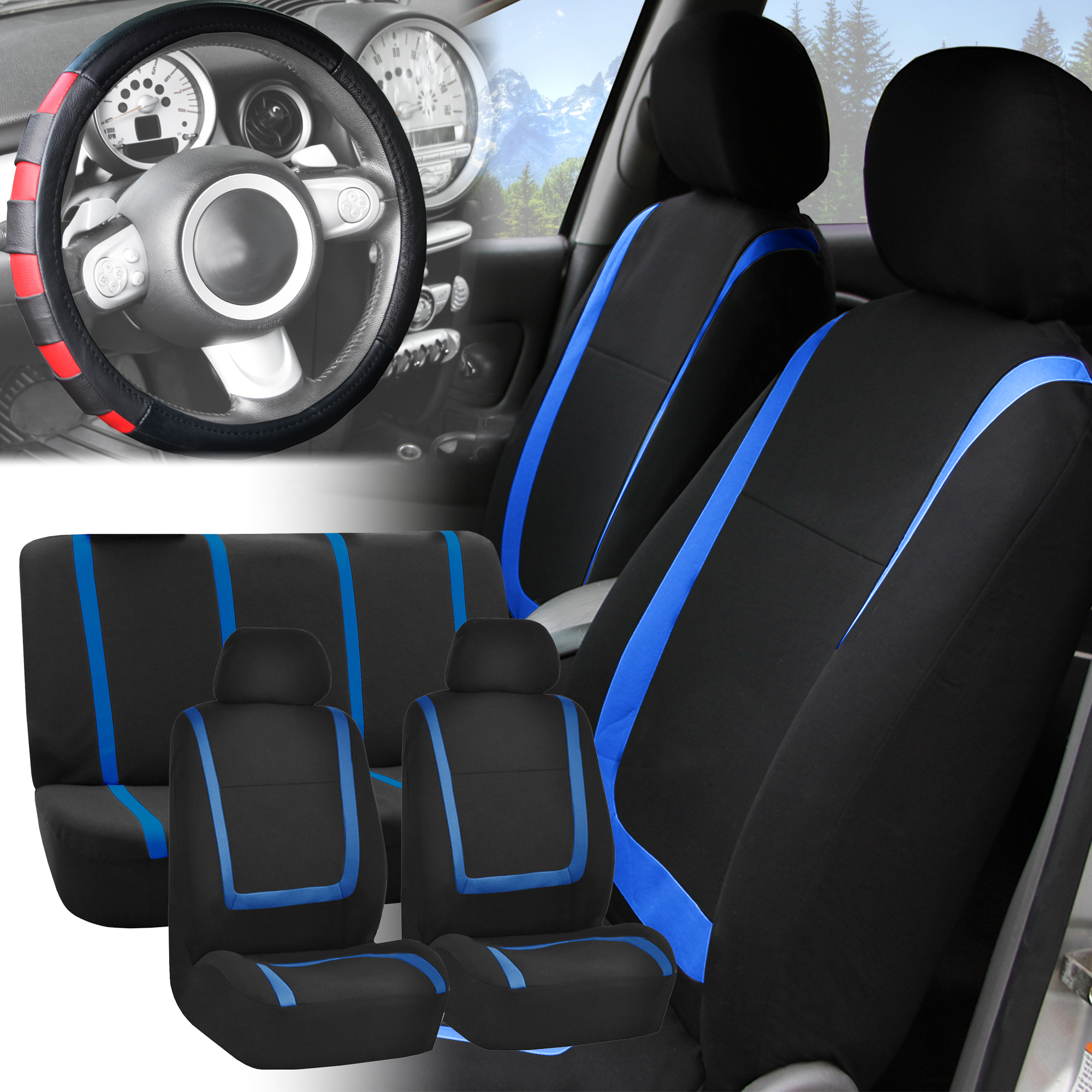 Car Seat Covers Blue Black Full Set For Auto W Red Leather Steering Cover Ebay