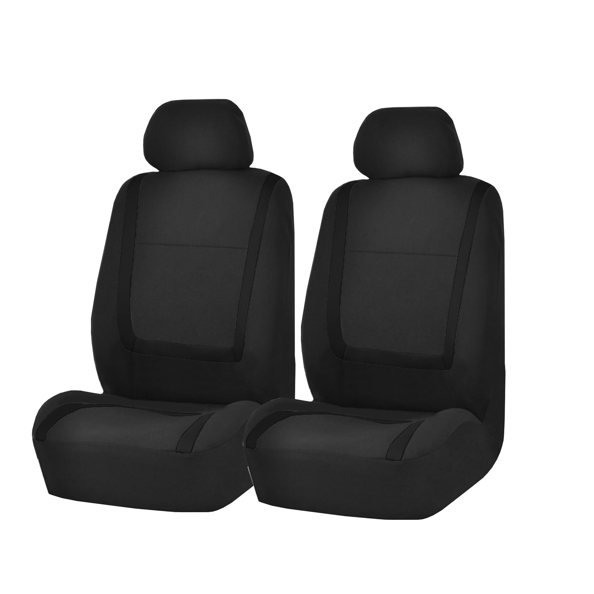 Front Car Seat Covers Black Set For Auto W Head Rests Two