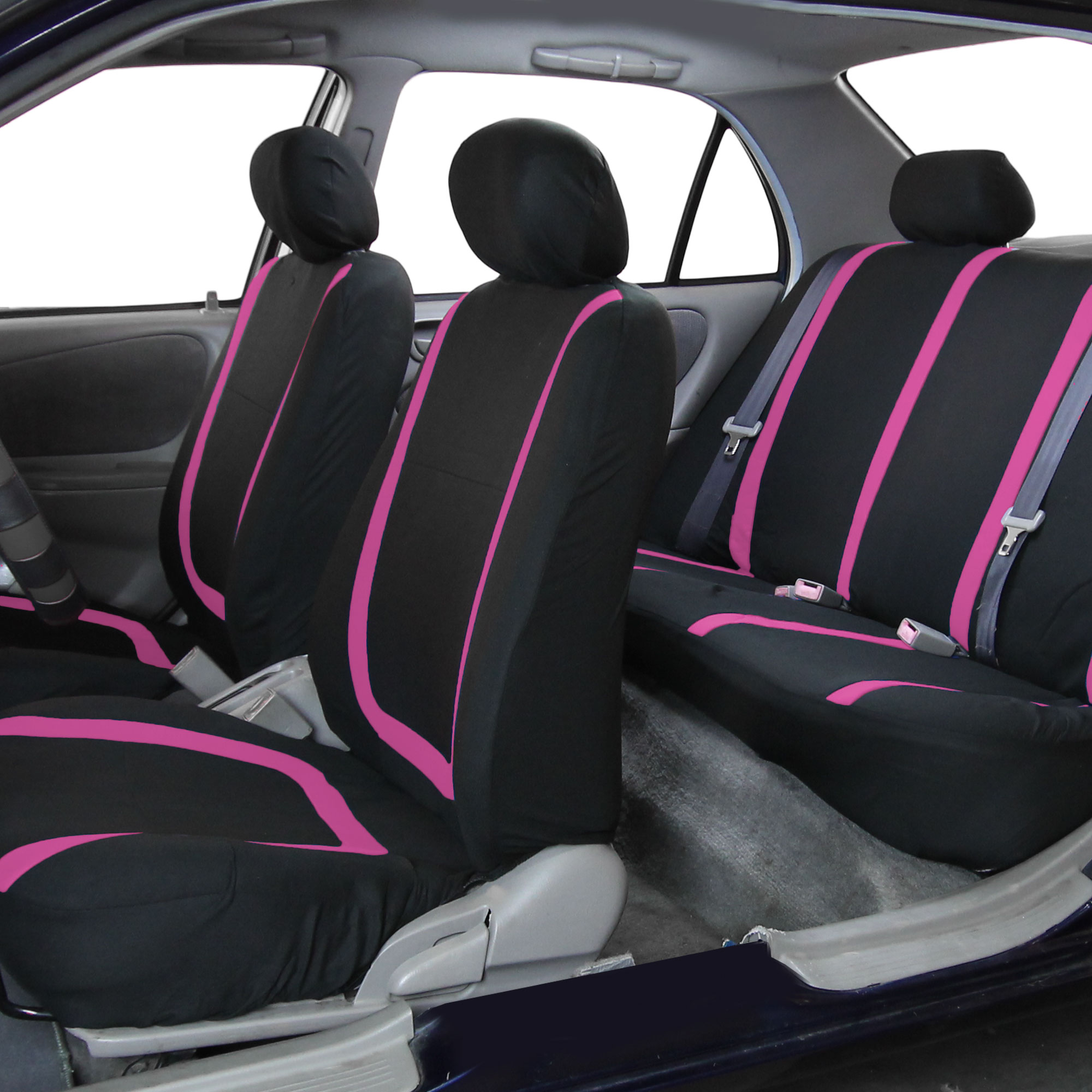 Black Pink Car Seat Covers With Black Rubber Floor Mats For Auto Car