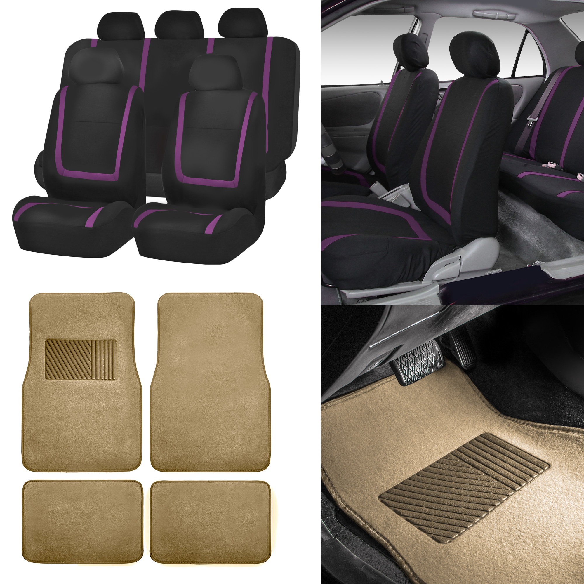 Black purple car seat covers with beige carpet floor - Car seat covers for tan interior ...