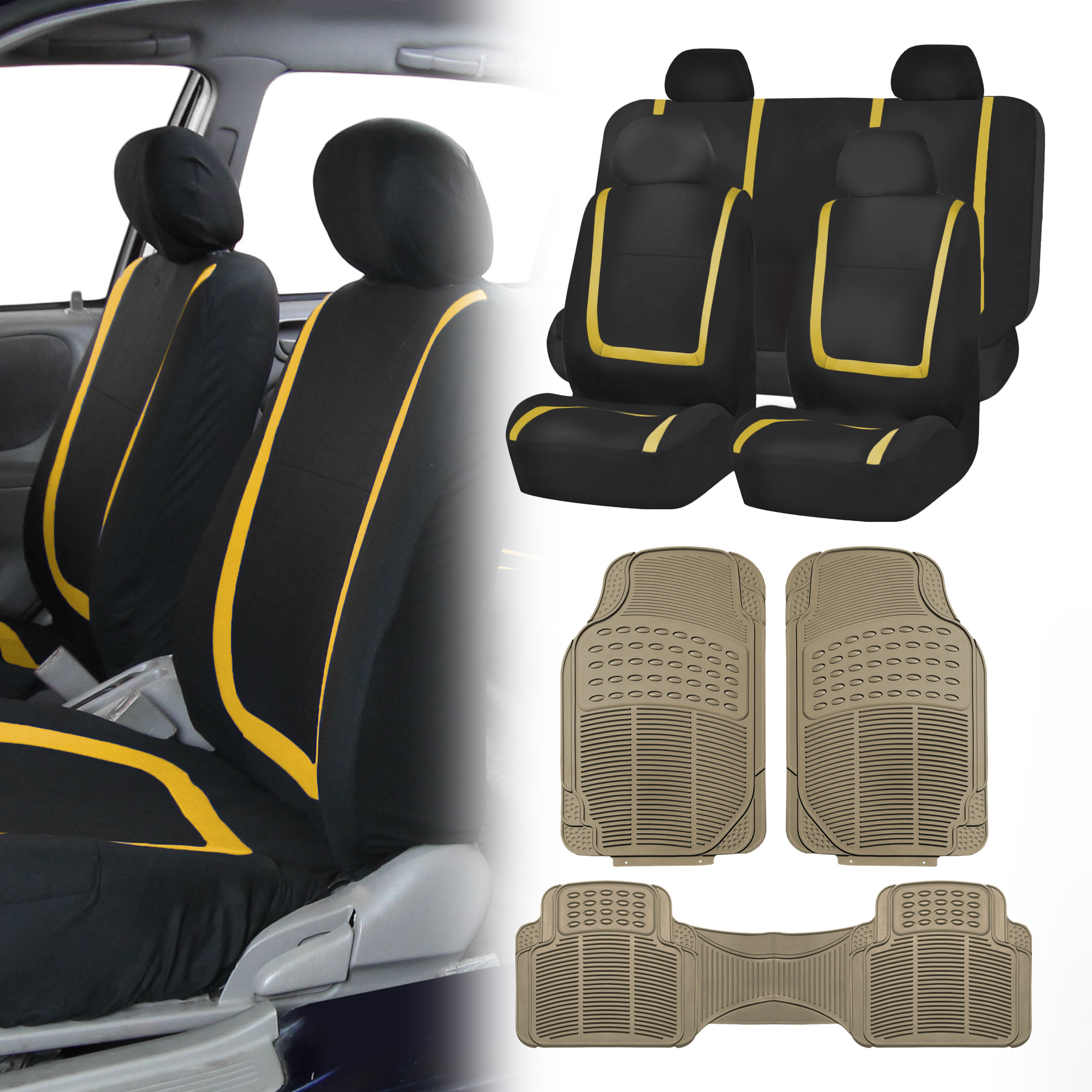 Image Is Loading Black Yellow Car Seat Covers With Beige Rubber