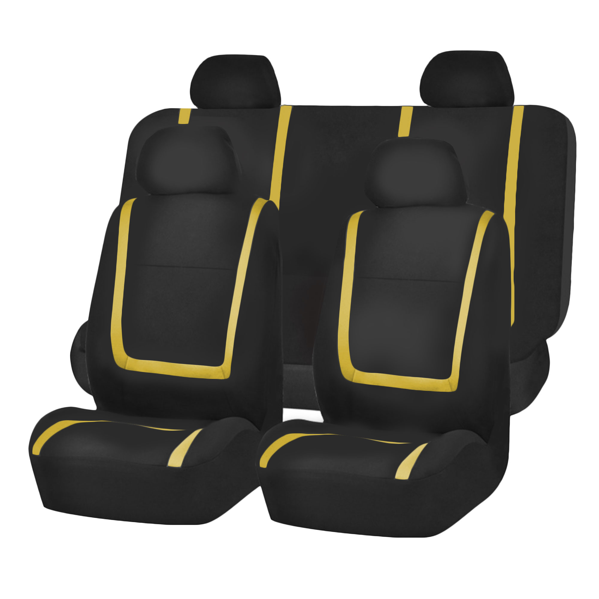 Black Amp Yellow Car Seat Covers With Black Carpet Floor