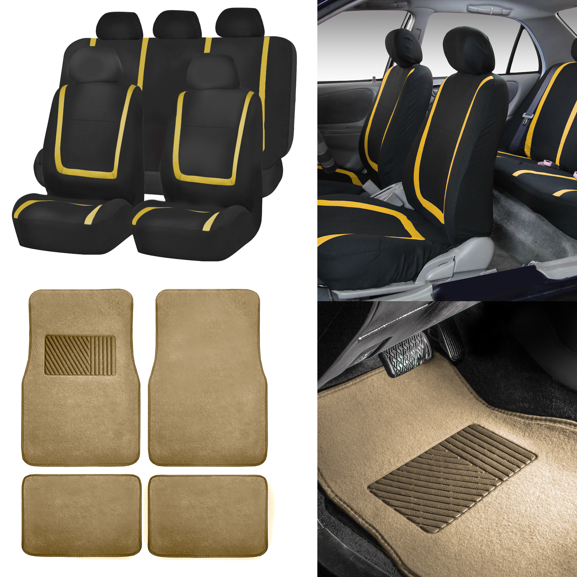 Marvelous Details About Black Yellow Car Seat Covers With Beige Carpet Floor Mats For Auto Car Suv Lamtechconsult Wood Chair Design Ideas Lamtechconsultcom