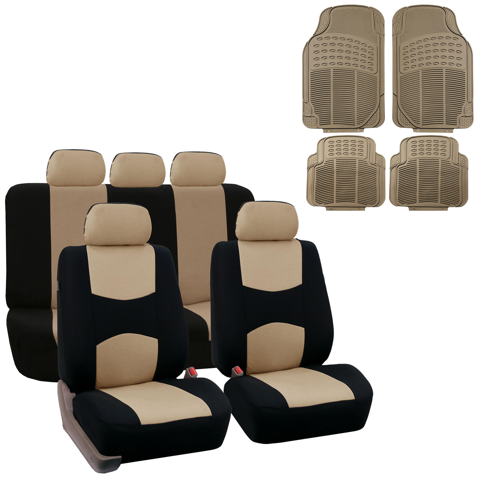 3 Row 8 Seaters SUV Beige Neoprene Seat Cover w// Black All Weather Floor Mats
