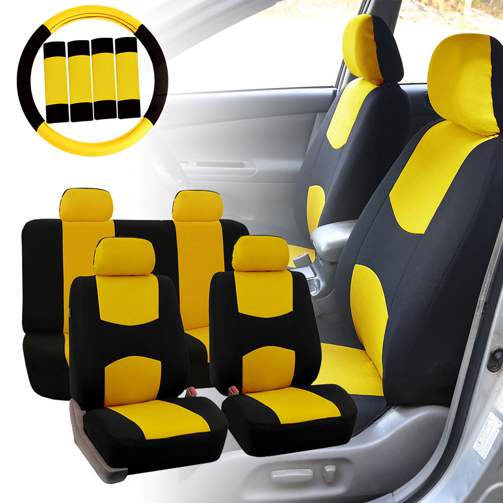 car seat covers for auto yellow w steering wheel belt pads 4 headrests ebay. Black Bedroom Furniture Sets. Home Design Ideas