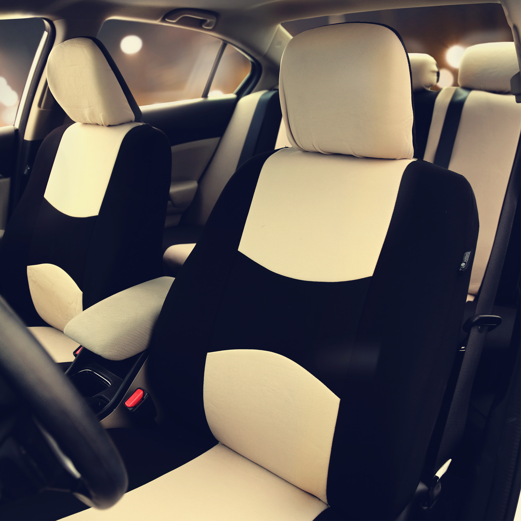Car Seat Covers Beige Full Set For Auto Suv Van W 5headrests
