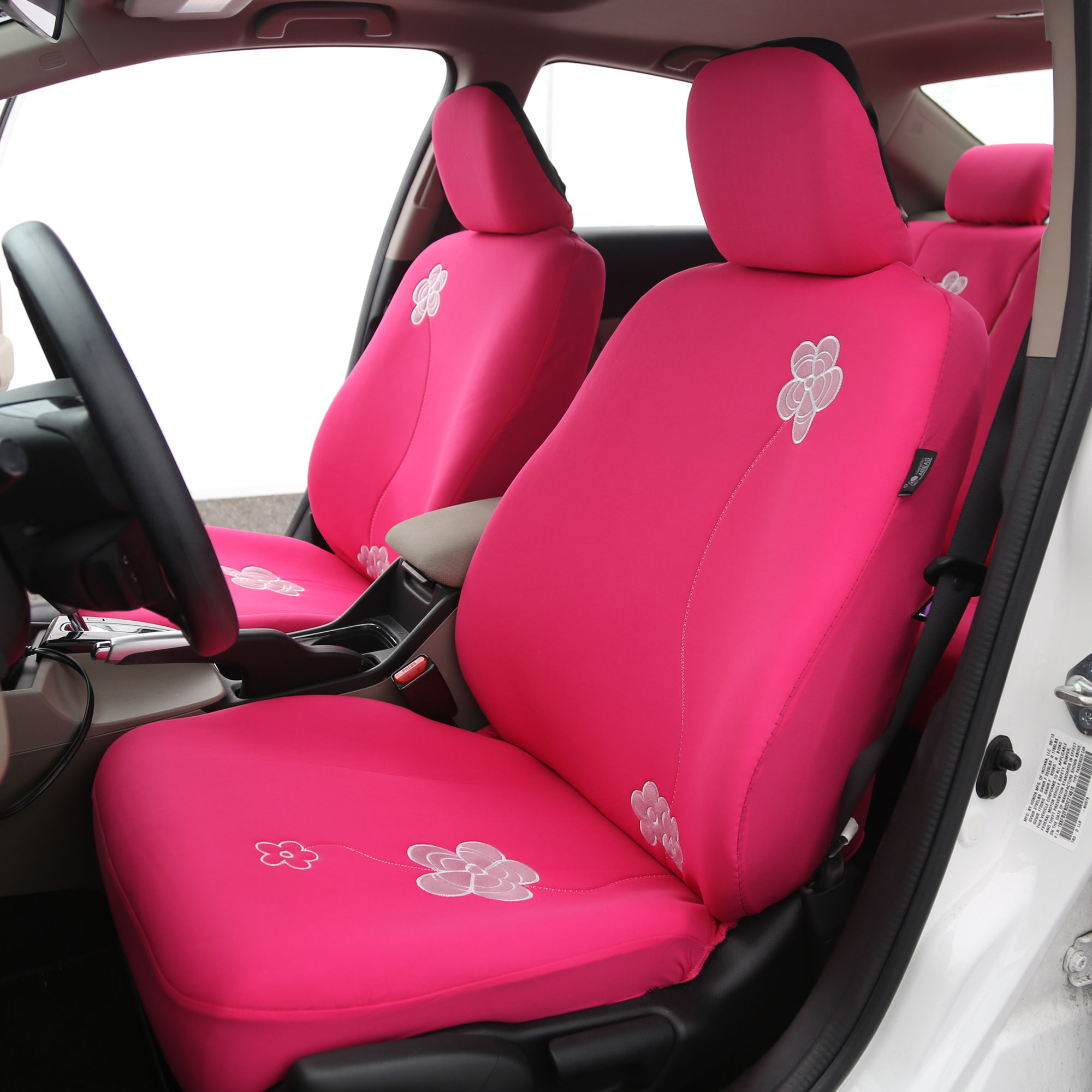 Floral Pink Car Seat Covers For Auto With Leather Steering
