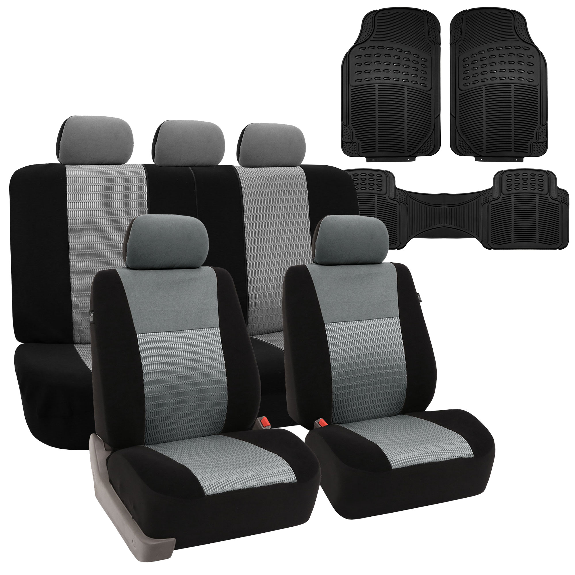 Car Seat Covers Set W/ All Weather Floor Mats 5 Colors