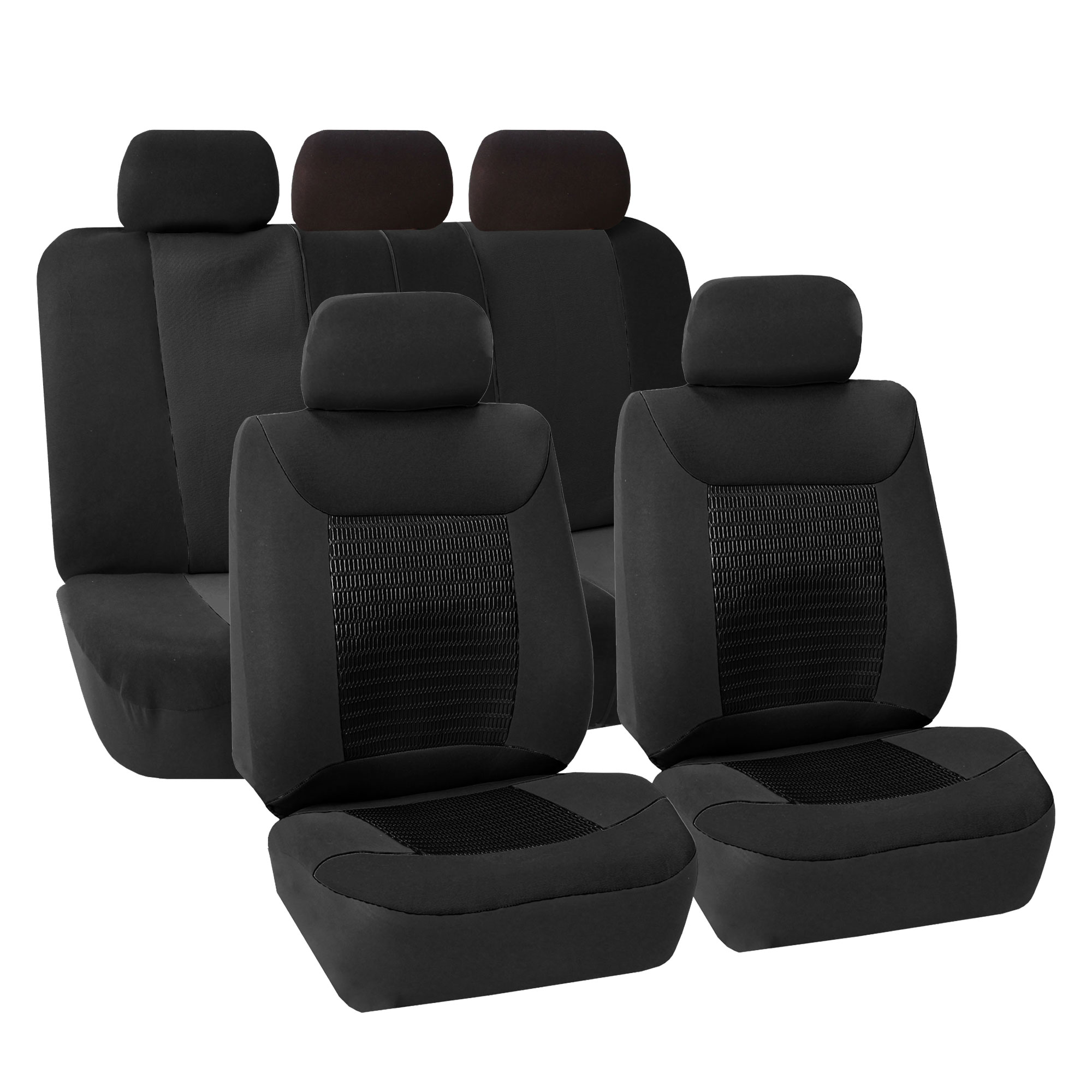 Car Seat Covers Black Set For Auto Sedan SUV W 5 Head Rests