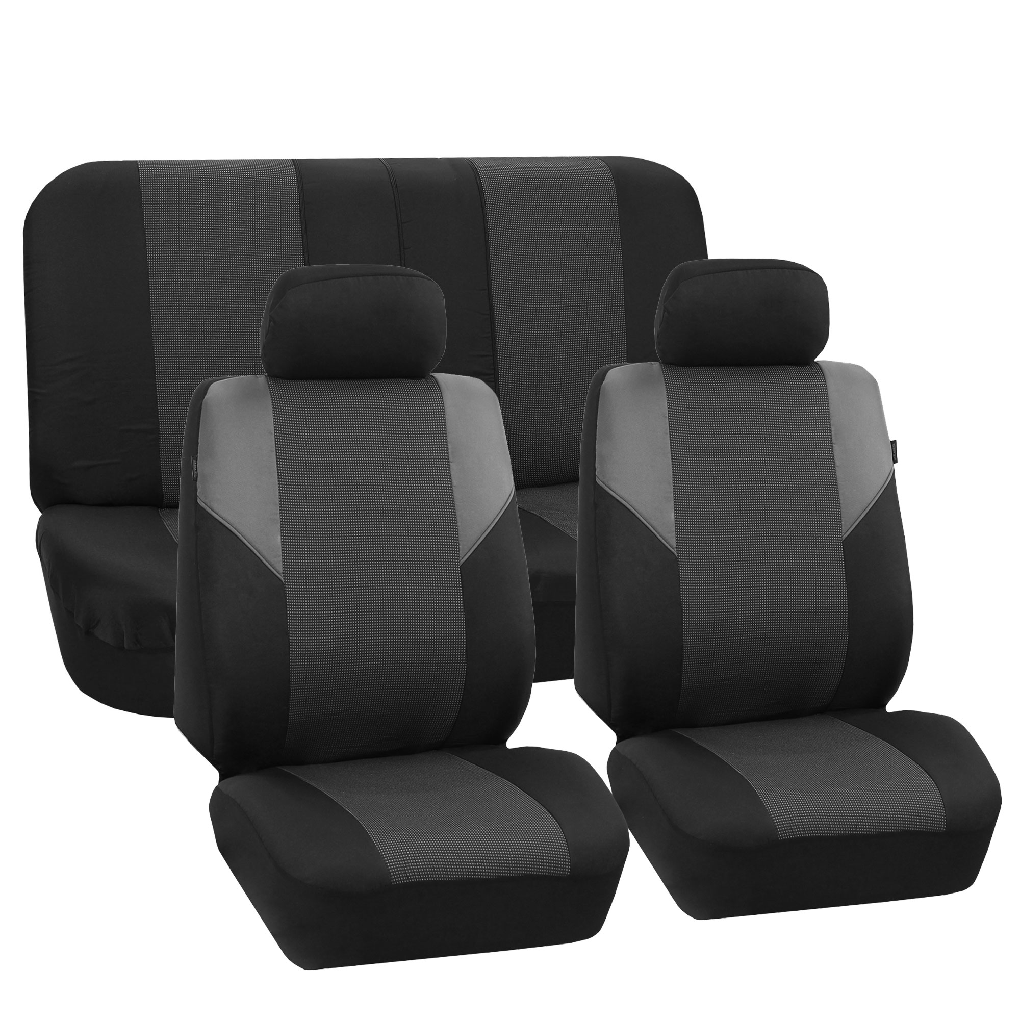 Car Seat Covers Black Gray Full Set For Auto W/2 Headrest