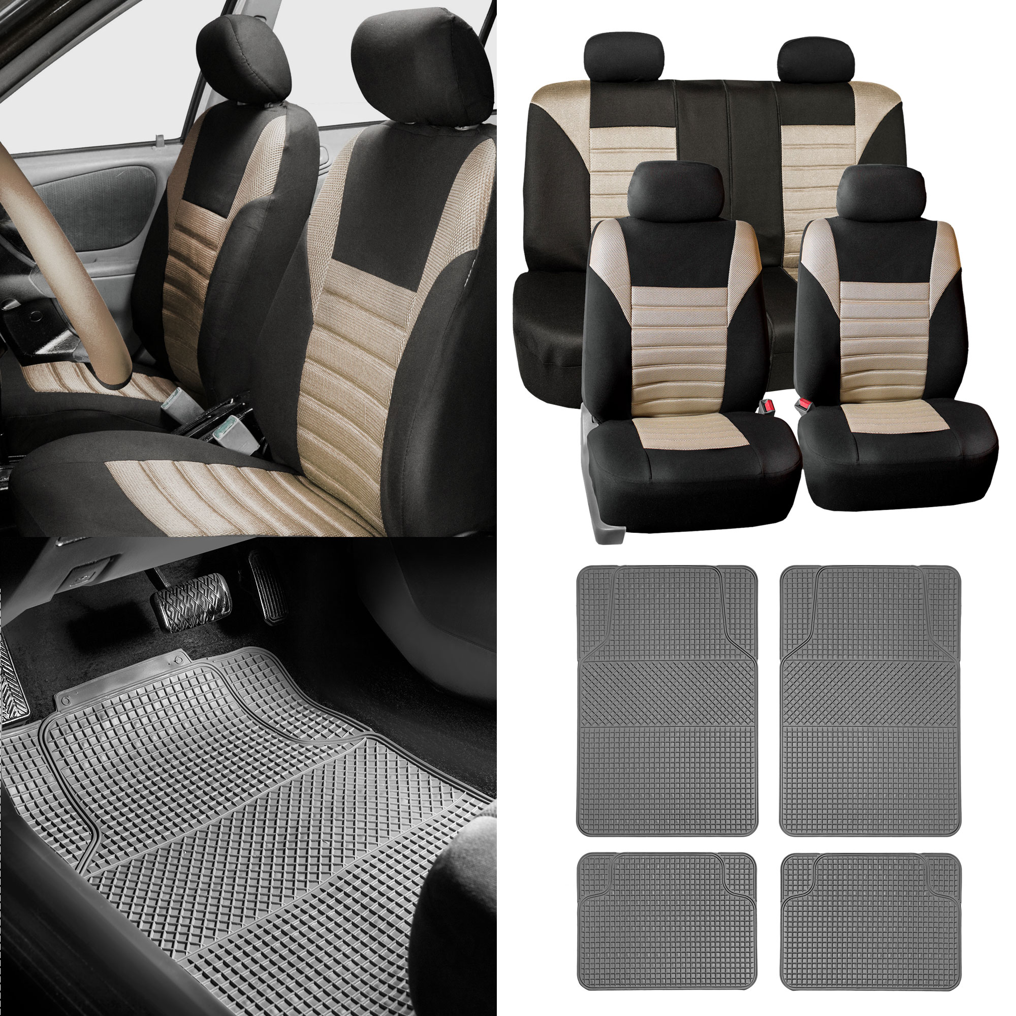 Combo Beige Auto Seat Covers Set With Gray Floor Mats For