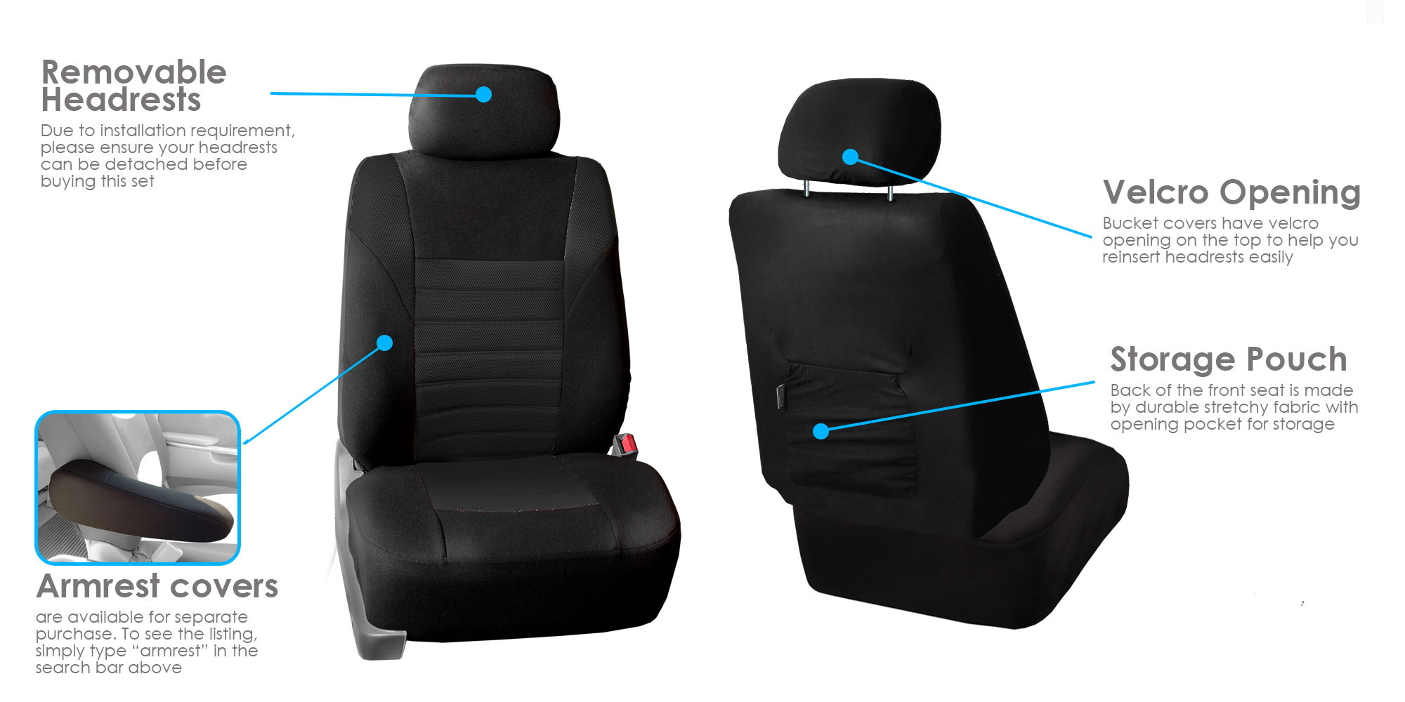 Front Bucket Seat Covers Pair For Auto Sedan