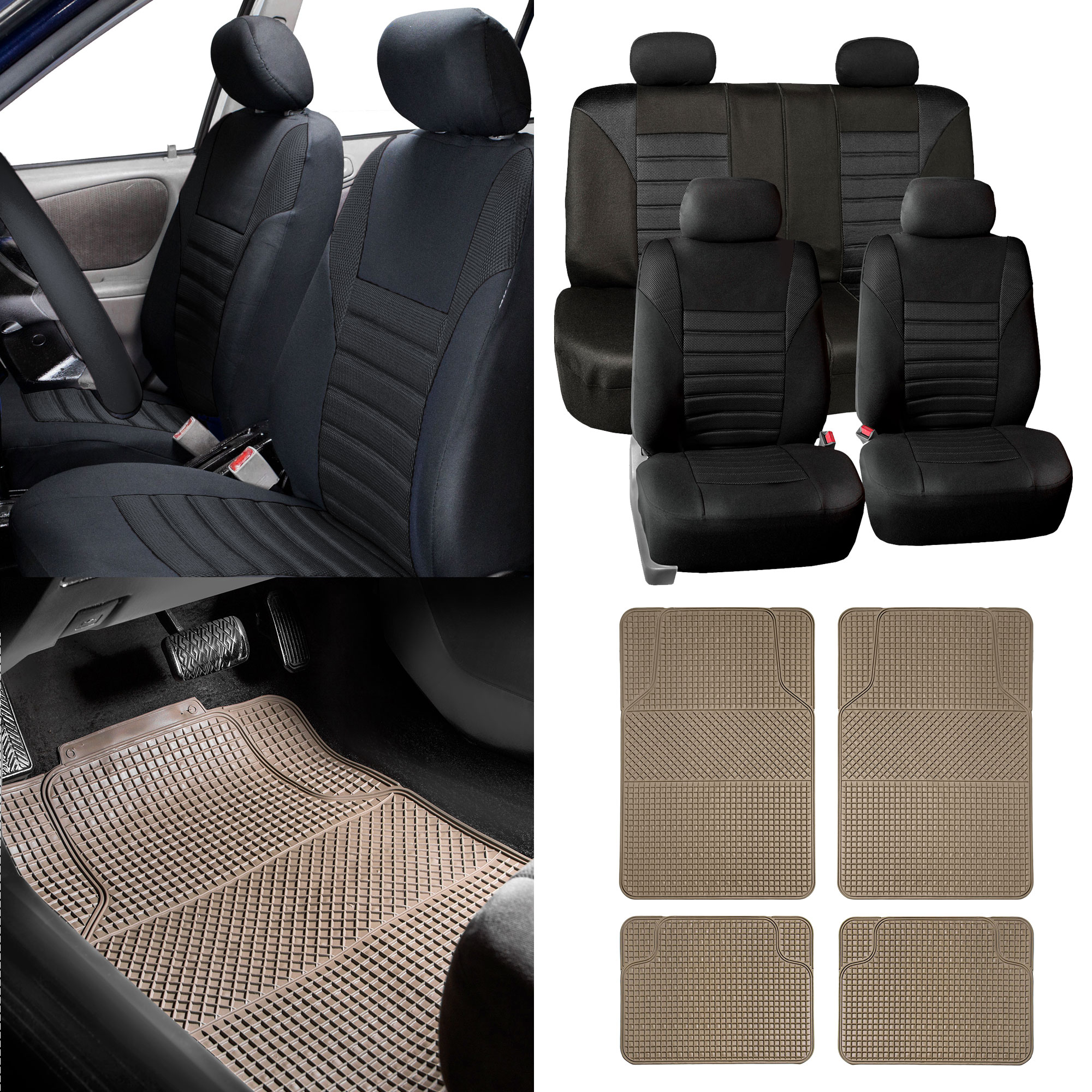 Seat Covers W Beige Floor Mats For Auto Car Sedan SUV
