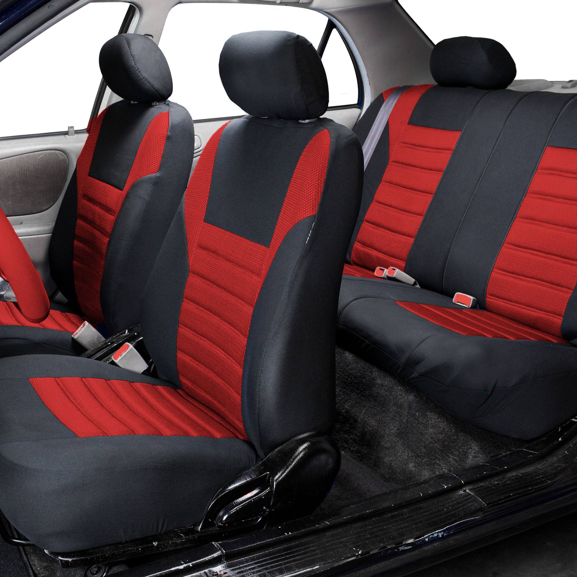 Combo Red Auto Seat Covers Set With Gray Floor Mats For