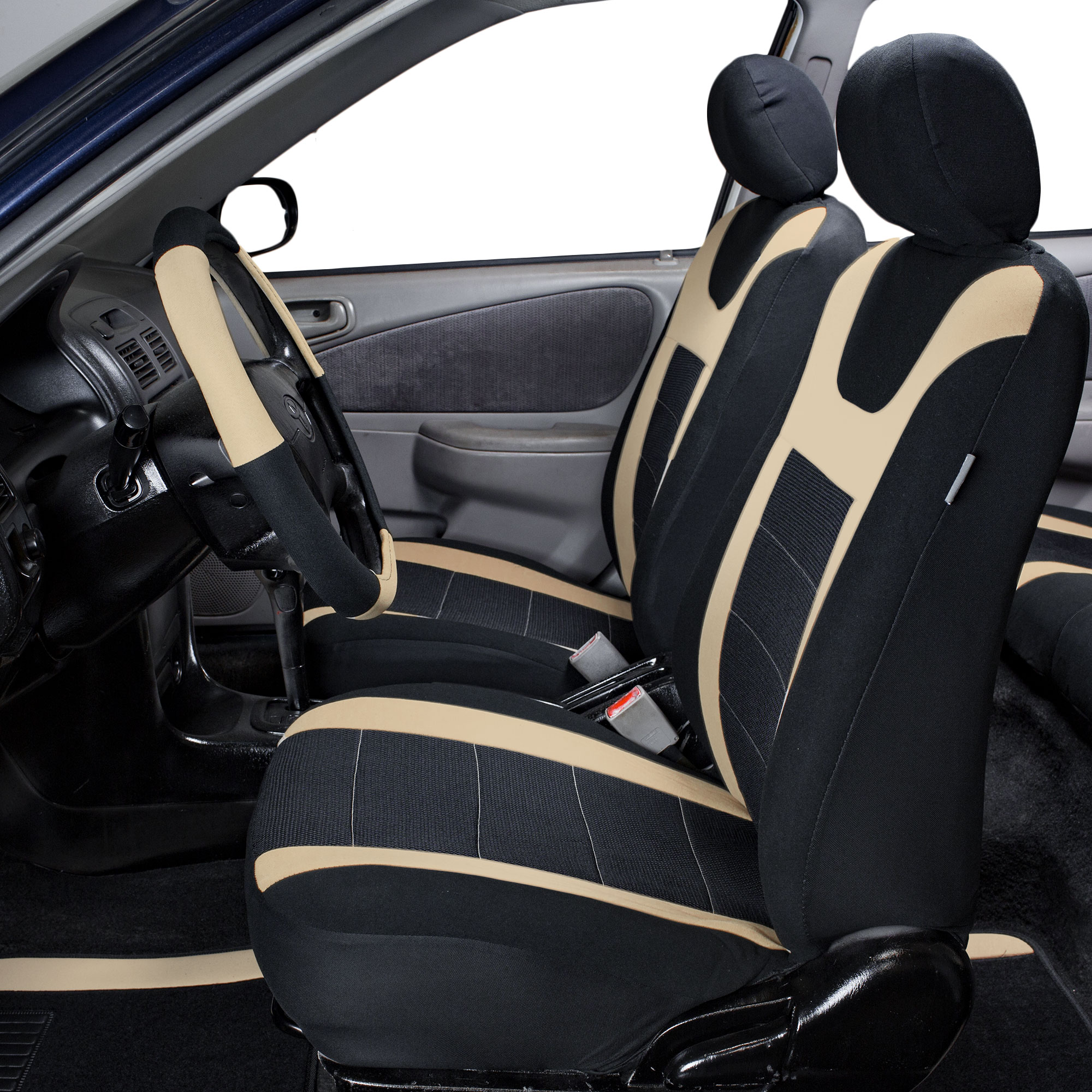 top quality sport car seat cover front back beige black for car truck suv ebay. Black Bedroom Furniture Sets. Home Design Ideas