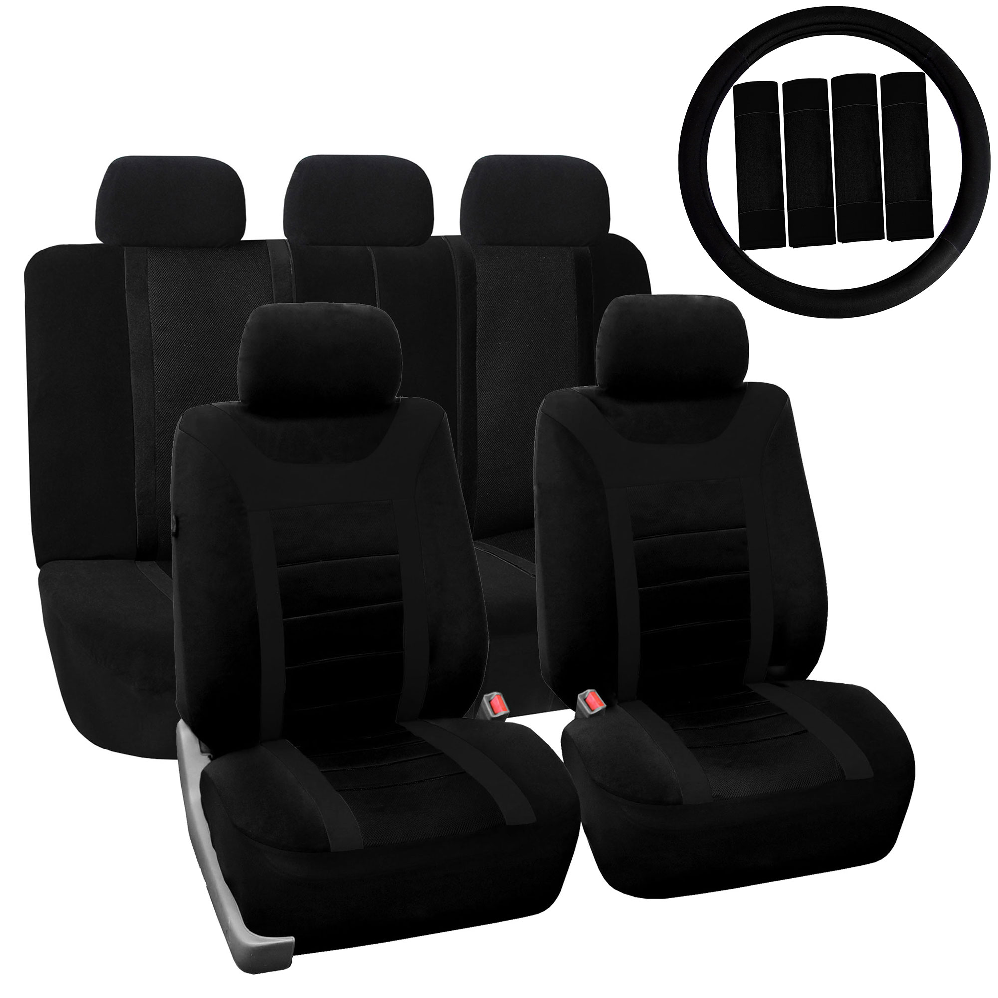 Car Seat Cover For Auto Full Set W Steering Wheel Cover