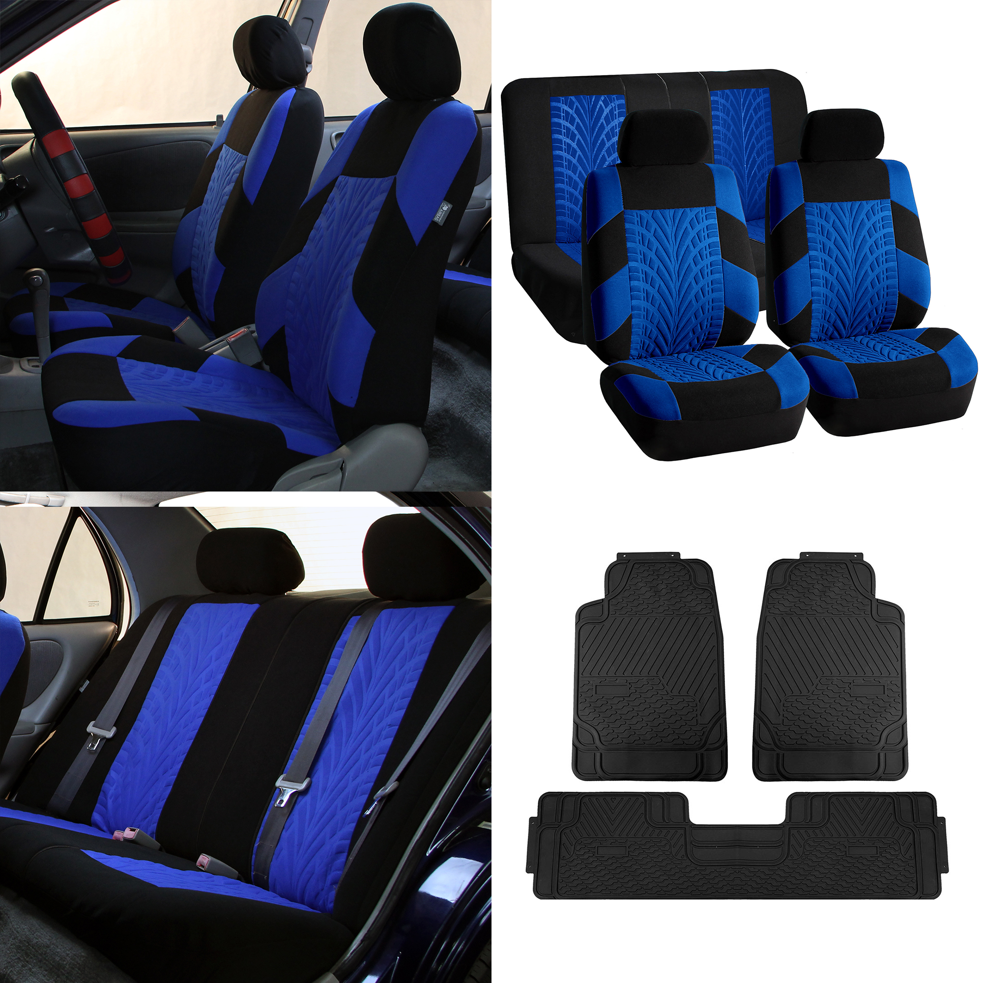 Auto Seat Covers for Auto with All Weather Floor Mats Blue